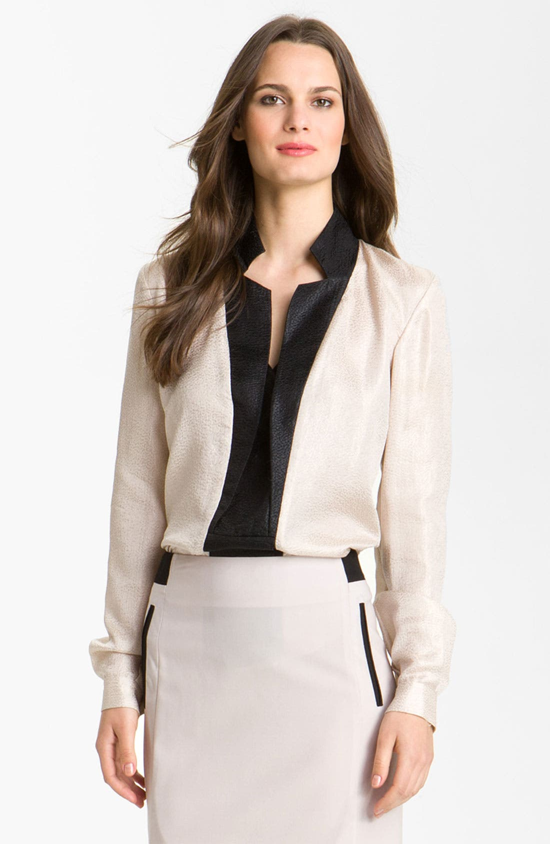 Alternate Image 1 Selected - Rachel Roy Silk Tuxedo Shirt