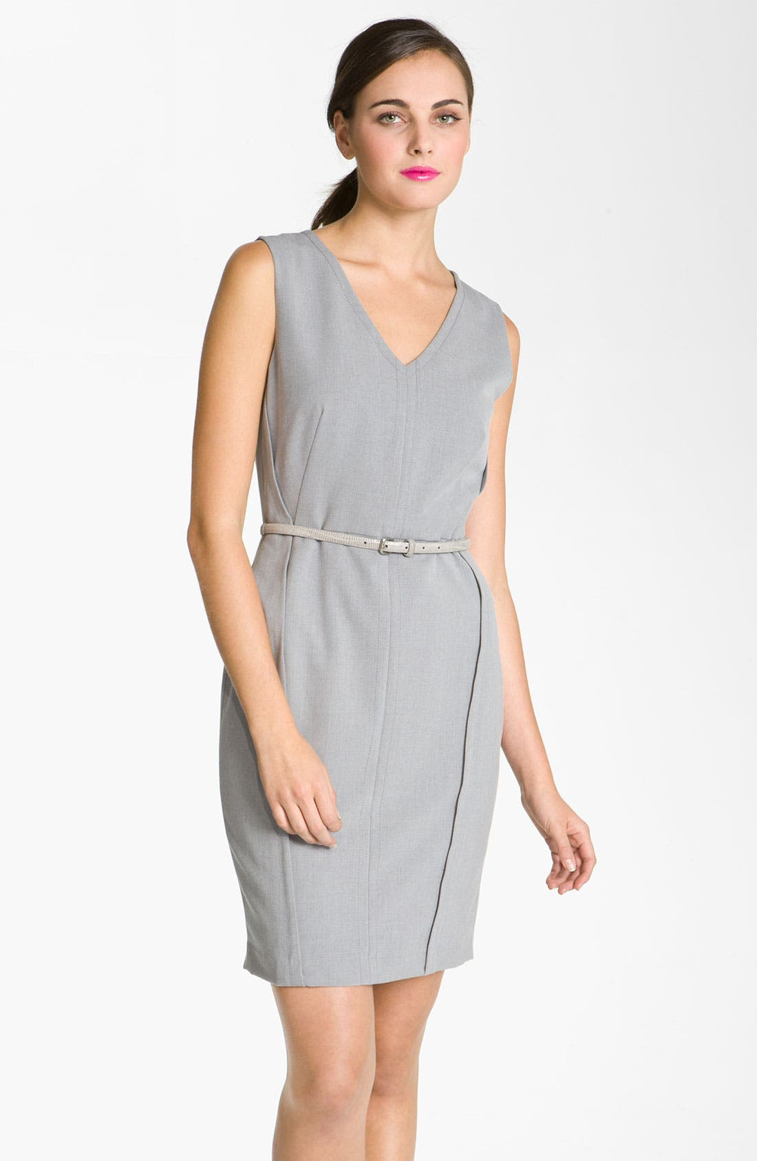 Alternate Image 1 Selected - Calvin Klein V-Neck Menswear Belted Sheath Dress