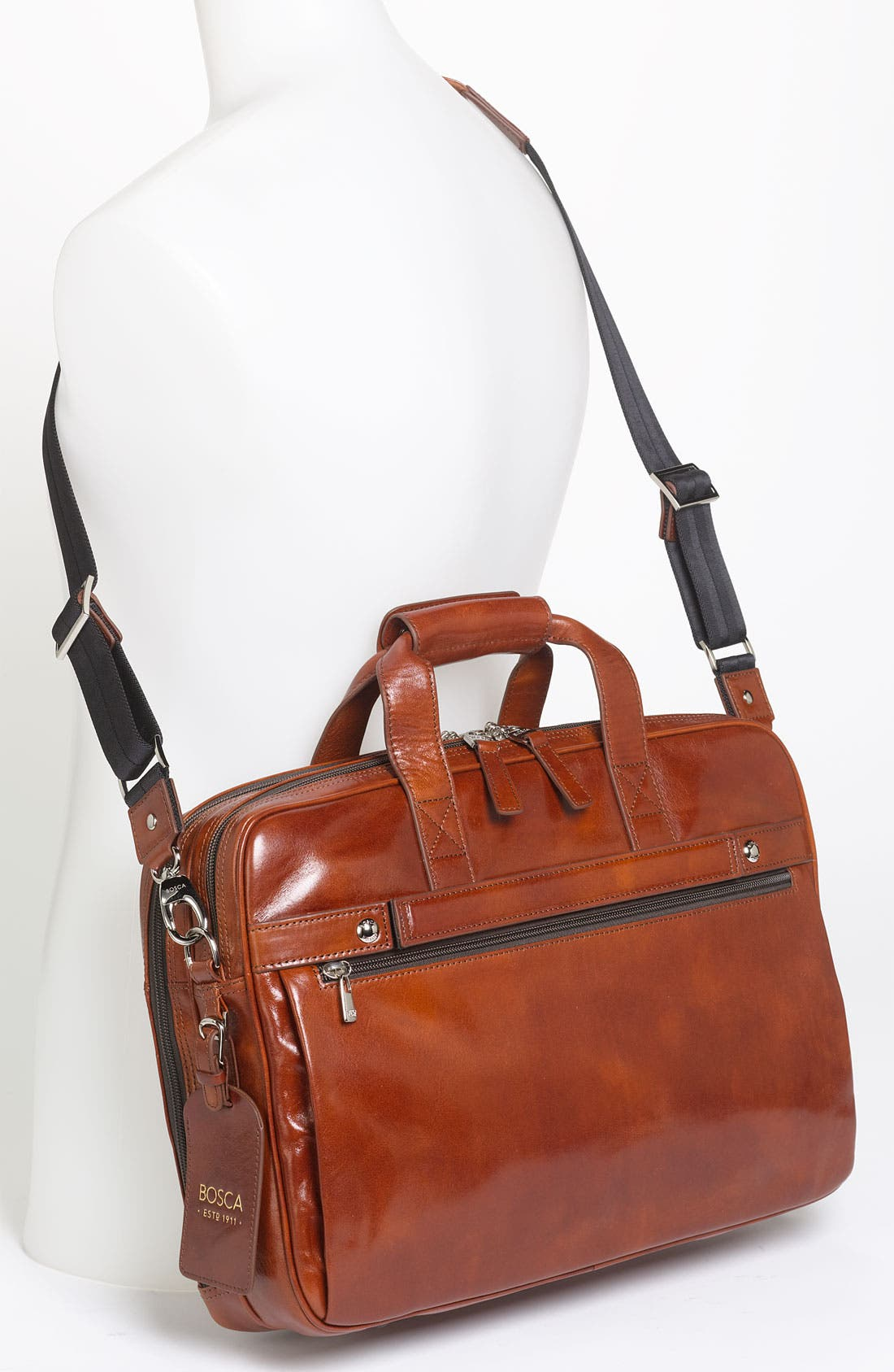 Double Compartment Leather Briefcase,                             Alternate thumbnail 2, color,                             Amber