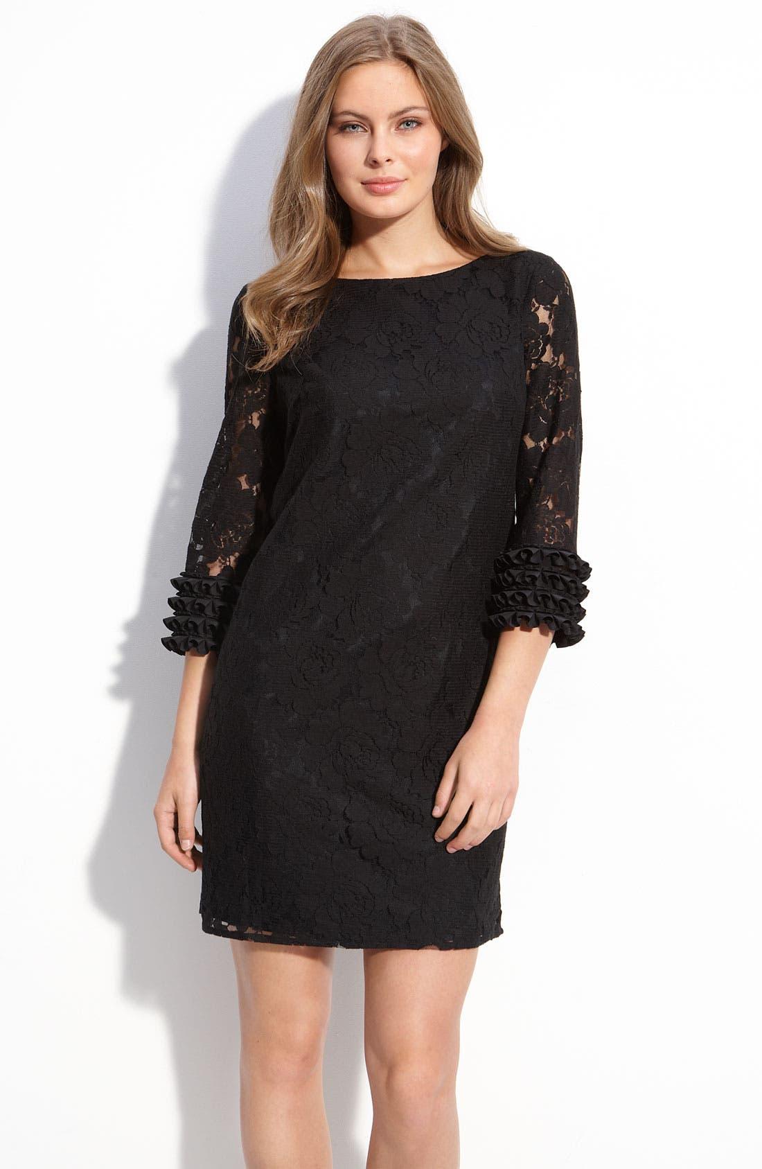 Main Image - Maggy London Ruffle Sleeve Lace Shift Dress