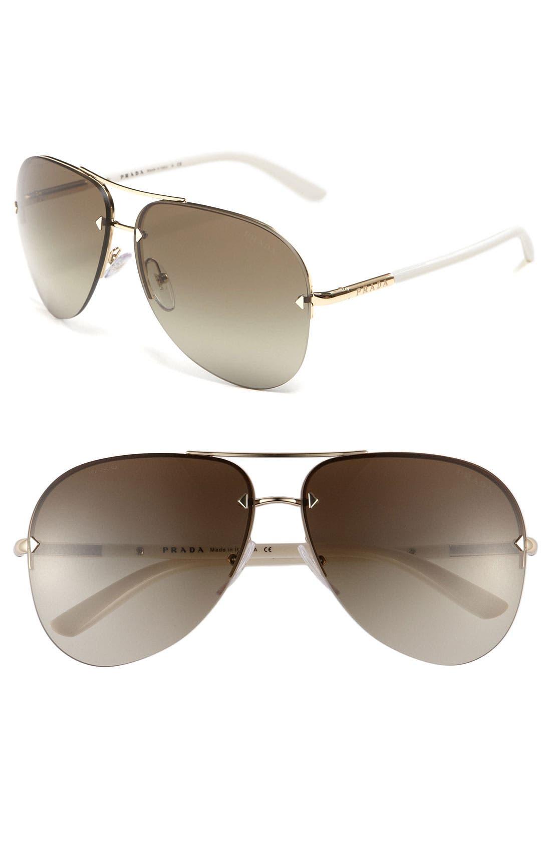Main Image - Prada 61mm Aviator Sunglasses