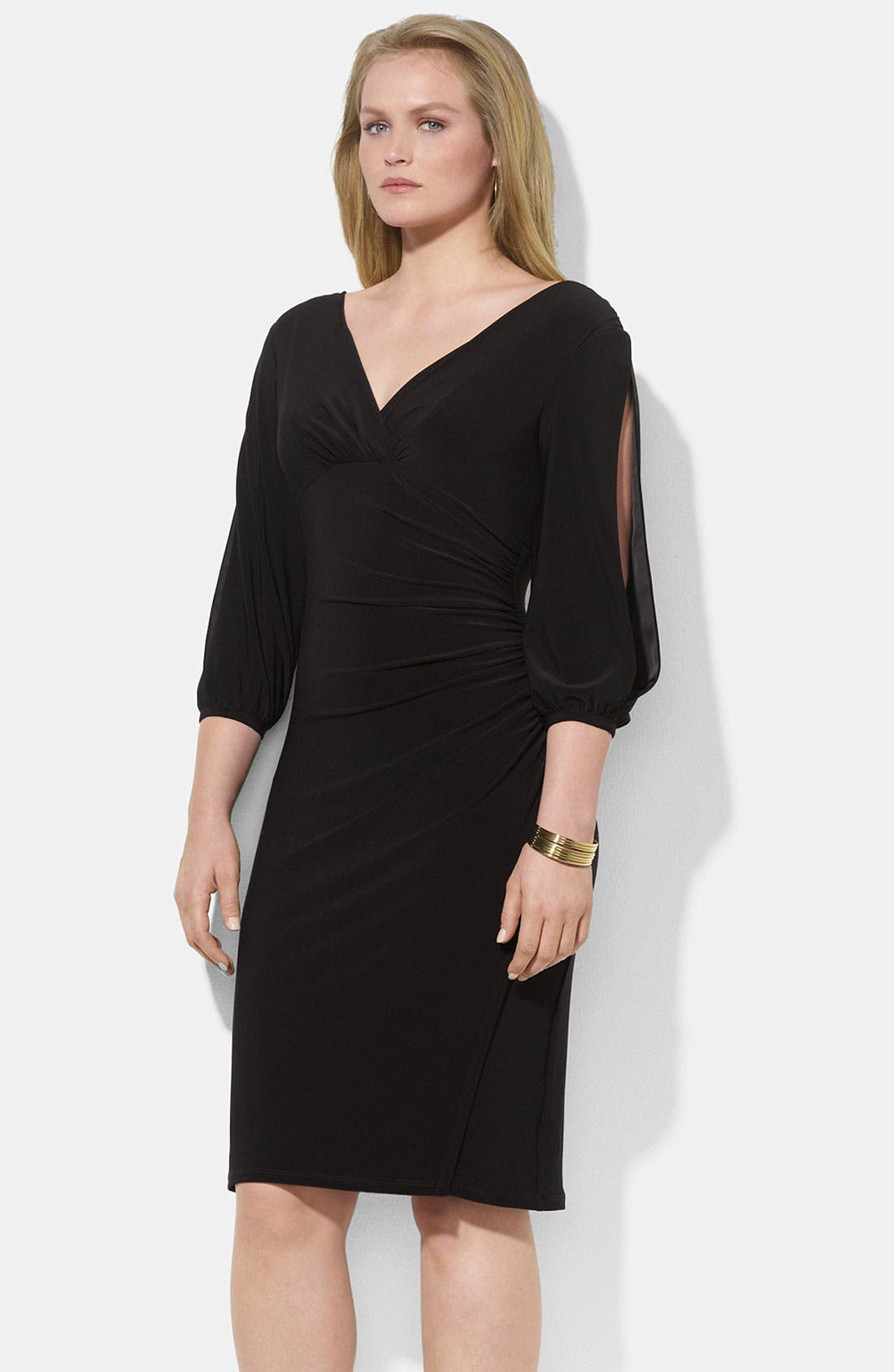 Main Image - Lauren Ralph Lauren Slit Sleeve Matte Jersey Sheath Dress (Plus)