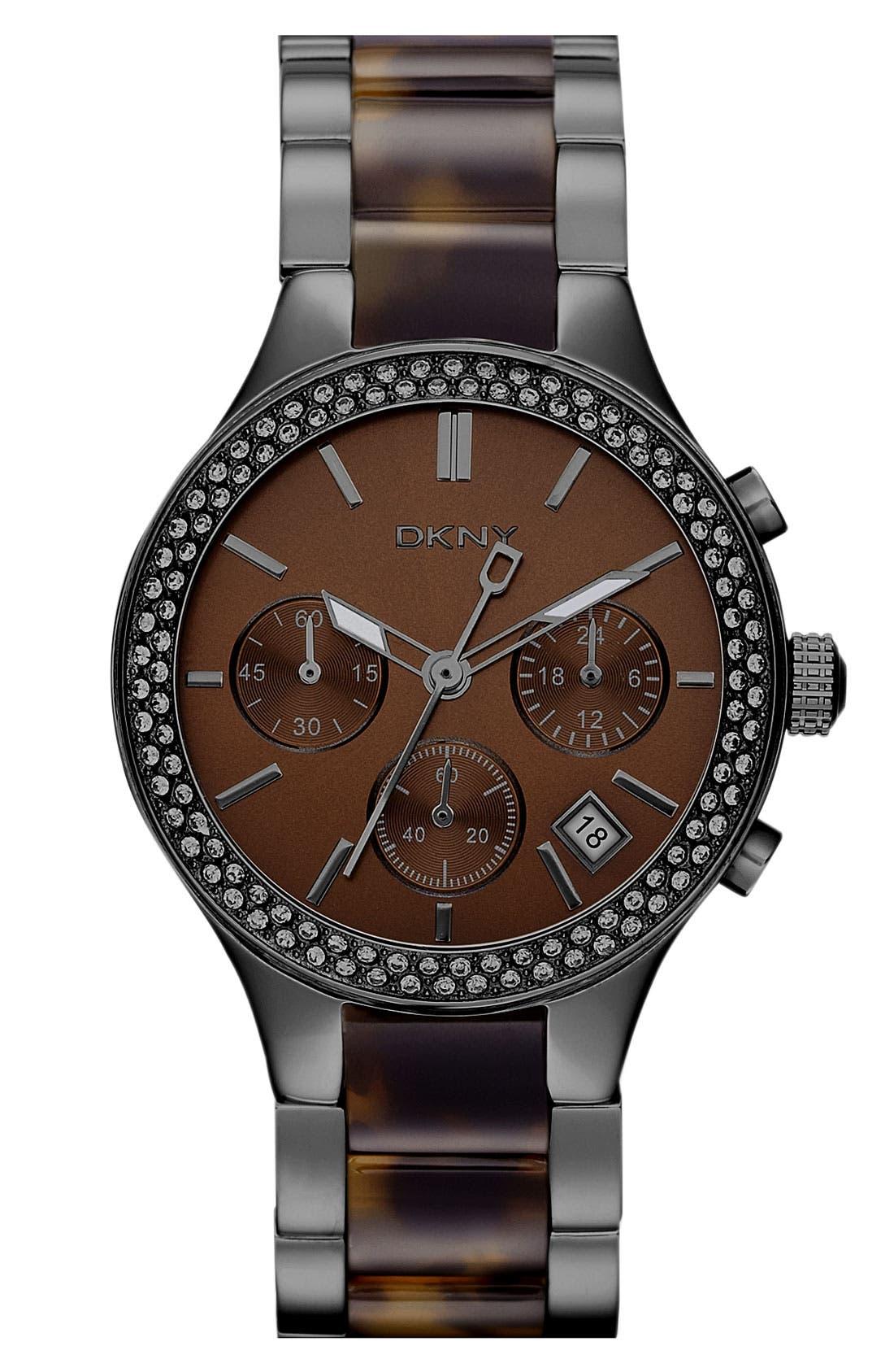 Alternate Image 1 Selected - DKNY 'Street Smart' Crystal Bezel Bracelet Watch