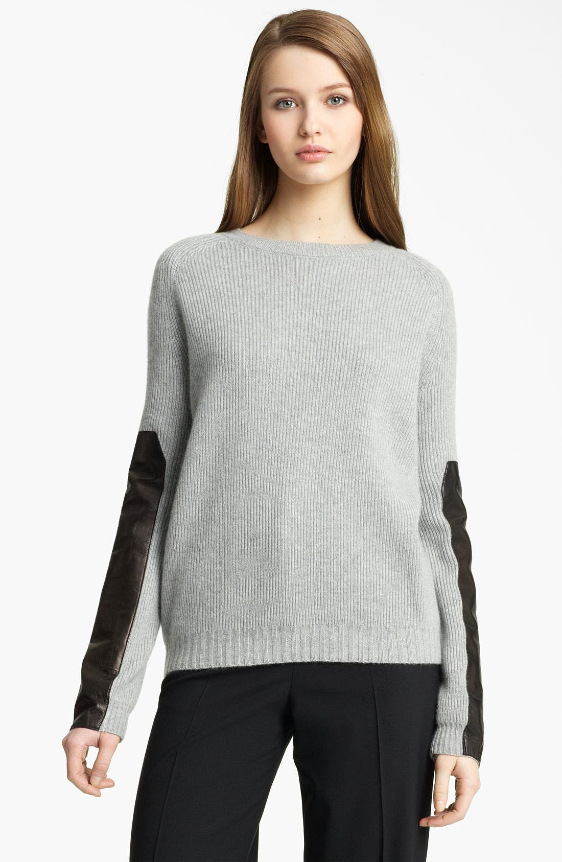 Main Image - Reed Krakoff Leather Sleeve Cashmere Sweater