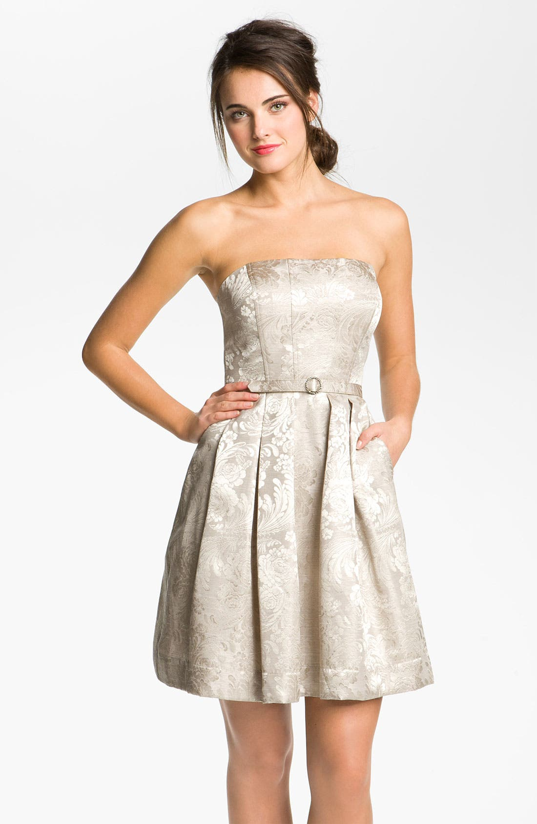Main Image - Eliza J Strapless Belted Jacquard Dress