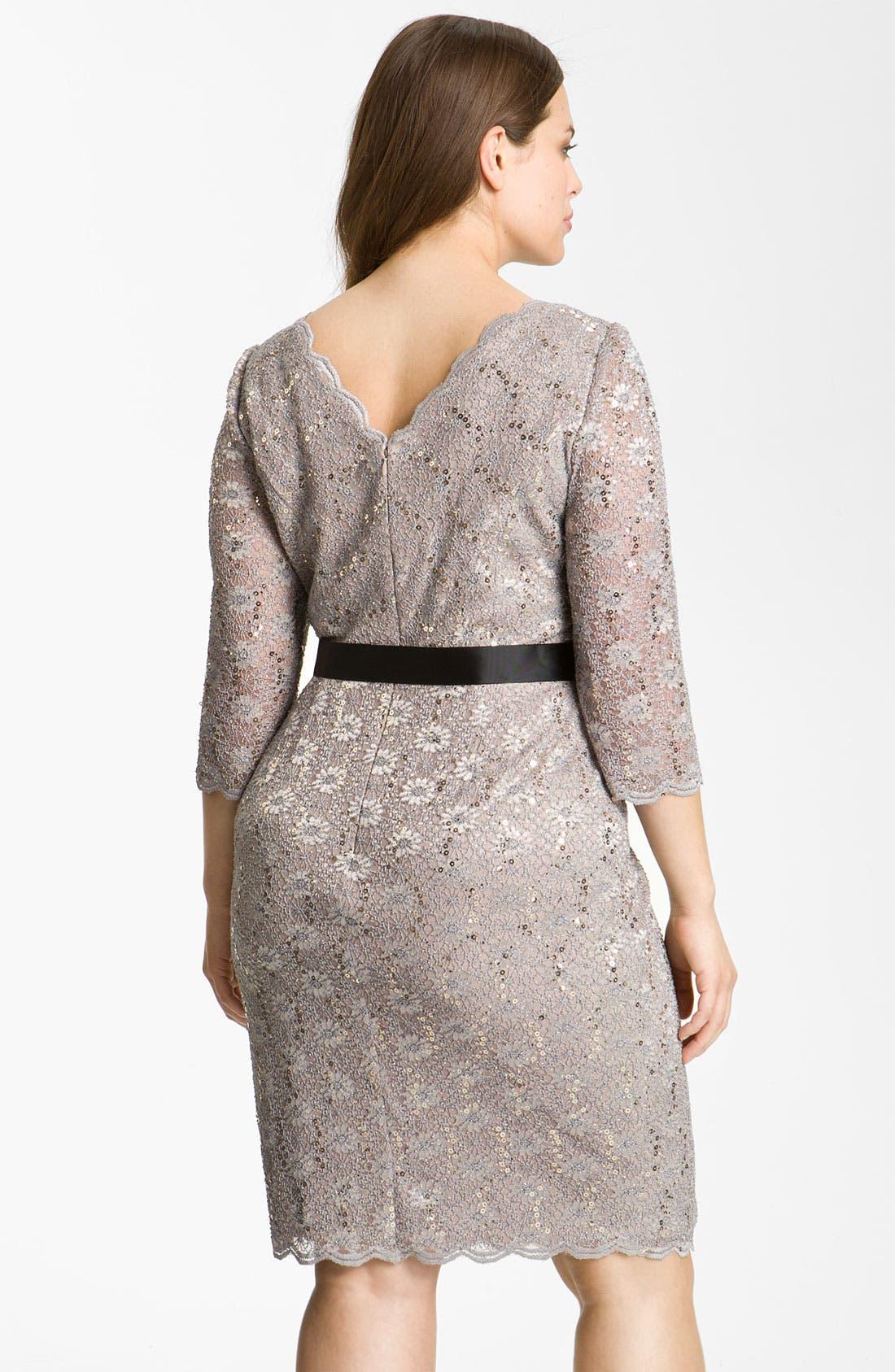 Alternate Image 2  - Alex Evenings Sequin Lace Sheath Dress (Plus Size)