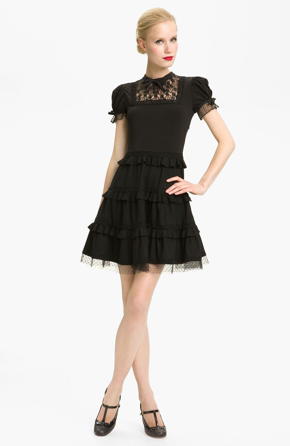 Main Image - RED Valentino Tiered Hem Jersey & Lace Dress