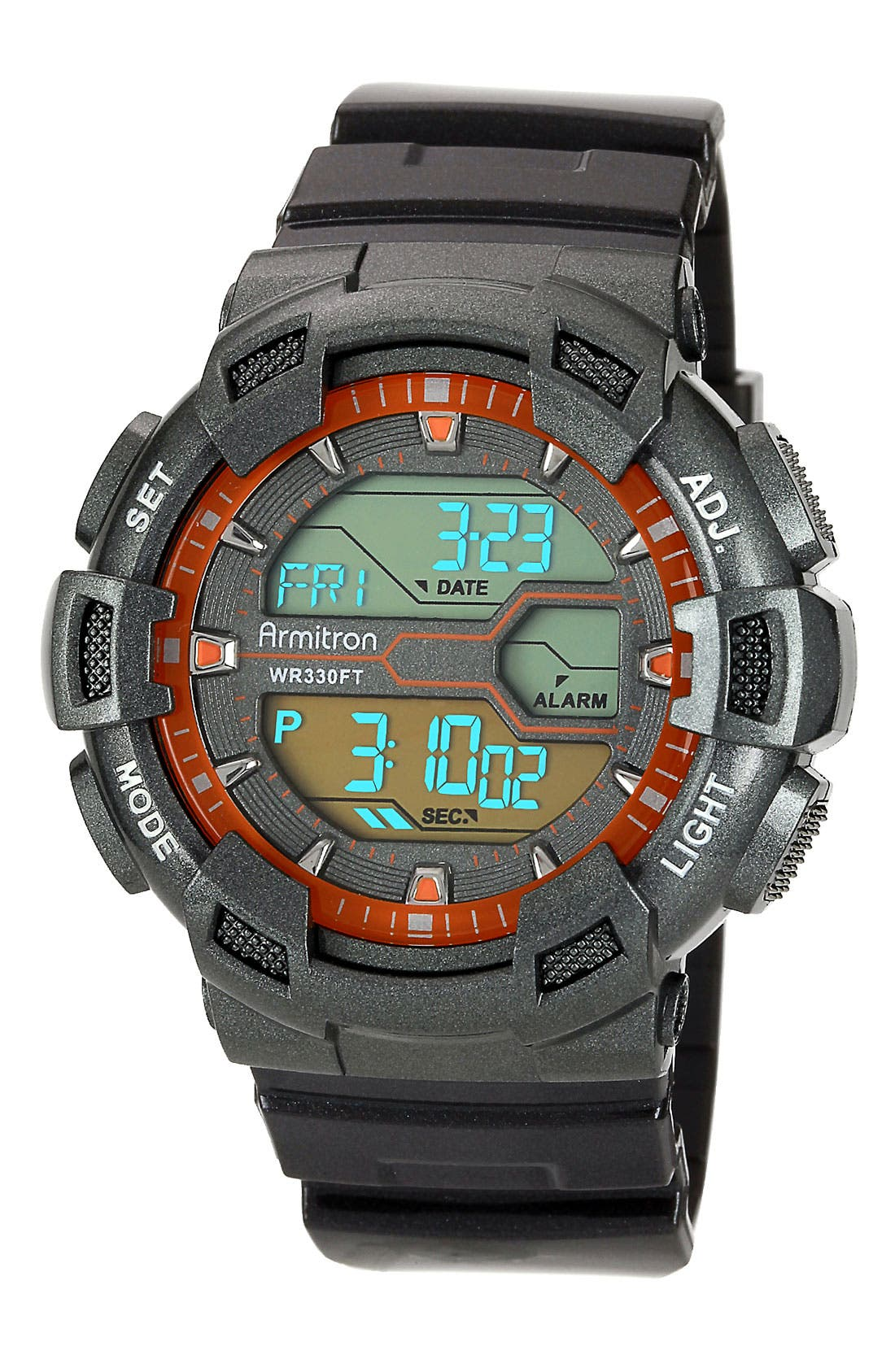Alternate Image 1 Selected - Armitron Round Digital Resin Watch, 53mm
