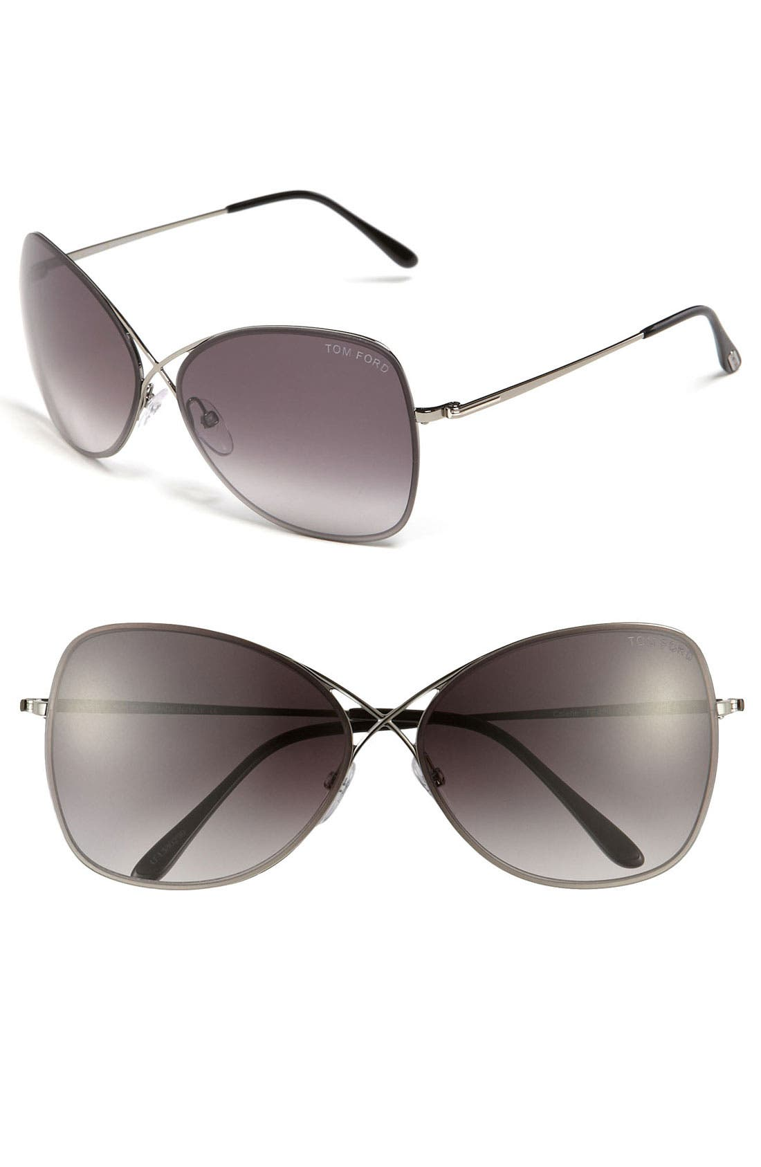 'Colette' 63mm Oversized Sunglasses,                         Main,                         color, Shiny Gunmetal/ Grey Gradient