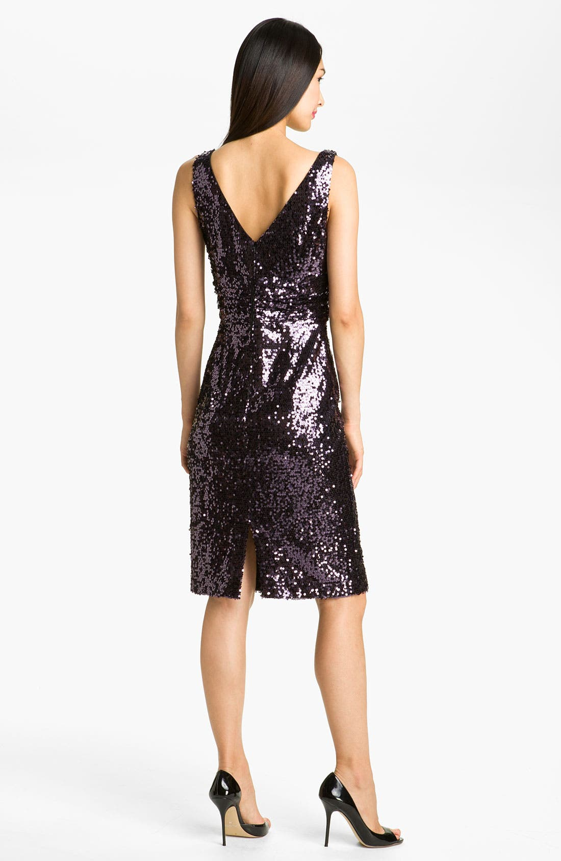 Alternate Image 2  - Eliza J V-Neck Sequin Sheath Dress