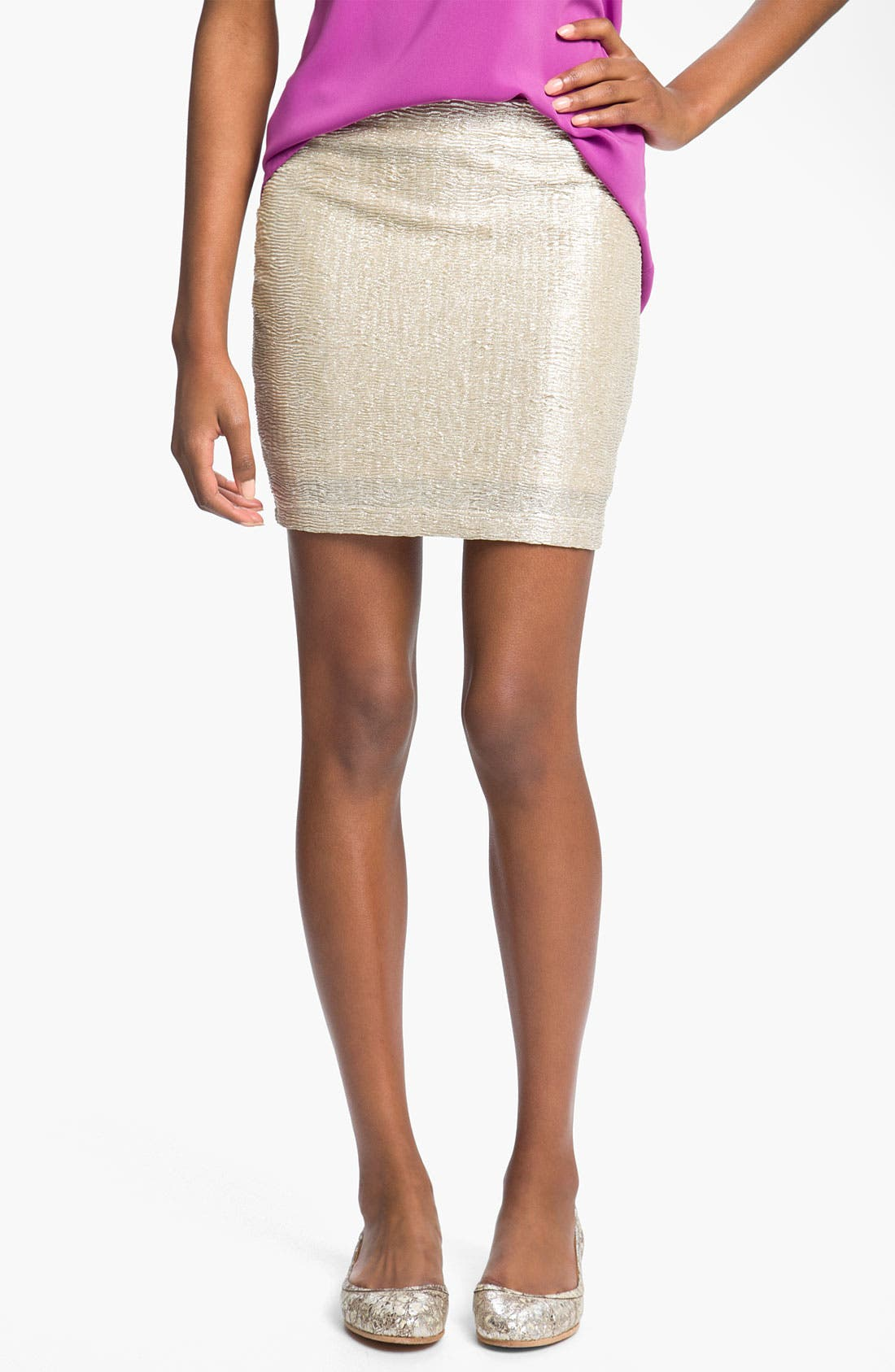 Alternate Image 1 Selected - Lush Metallic Miniskirt (Juniors)
