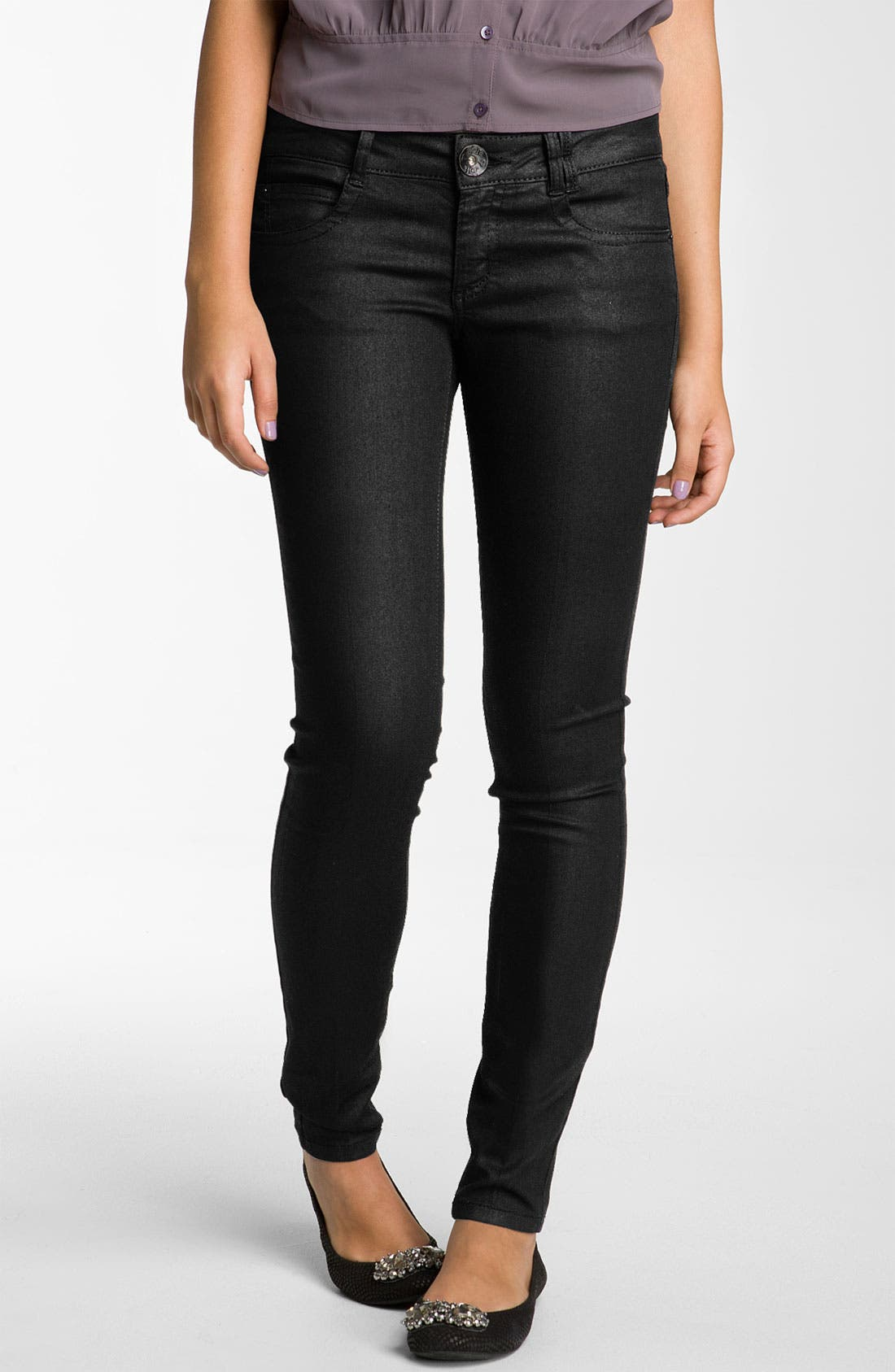 Alternate Image 2  - Jolt Skinny Coated Jeans (Juniors)