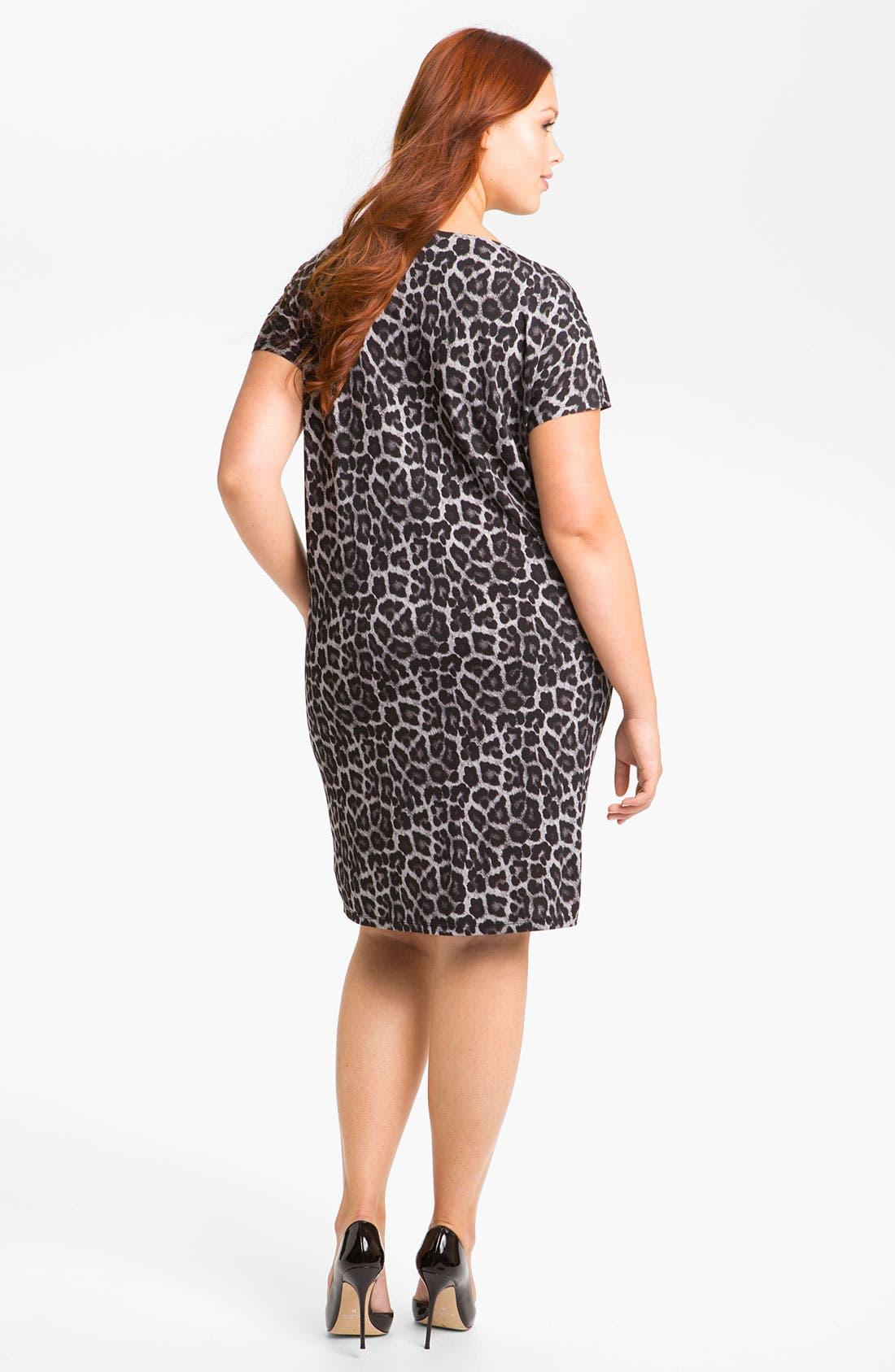 Alternate Image 2  - MICHAEL Michael Kors Print Cowl Neck Shift Dress (Plus)
