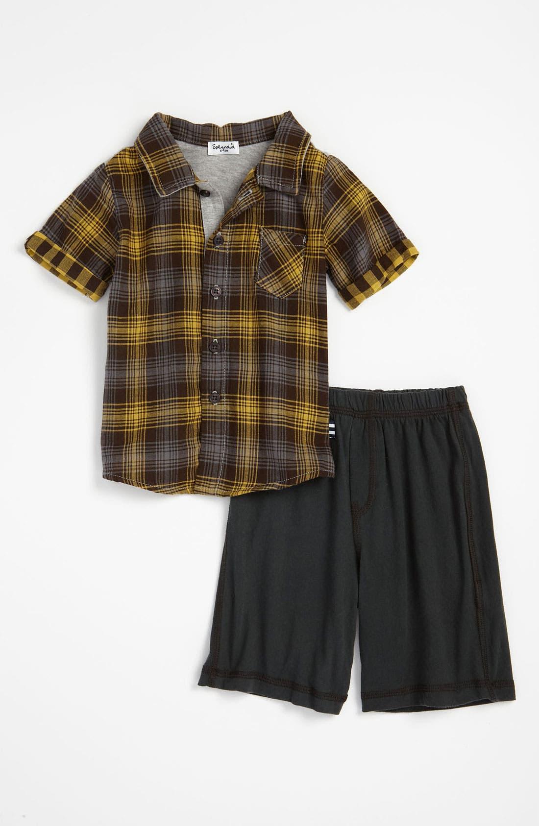 Main Image - Splendid 'Backyard' Plaid Shirt & Shorts (Infant)