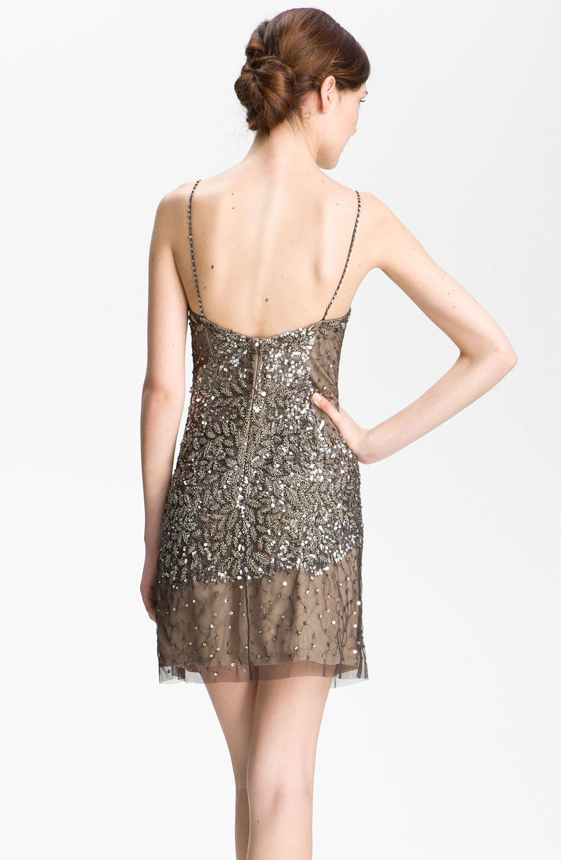 Alternate Image 2  - Adrianna Papell Spaghetti Strap Embellished Mesh Dress