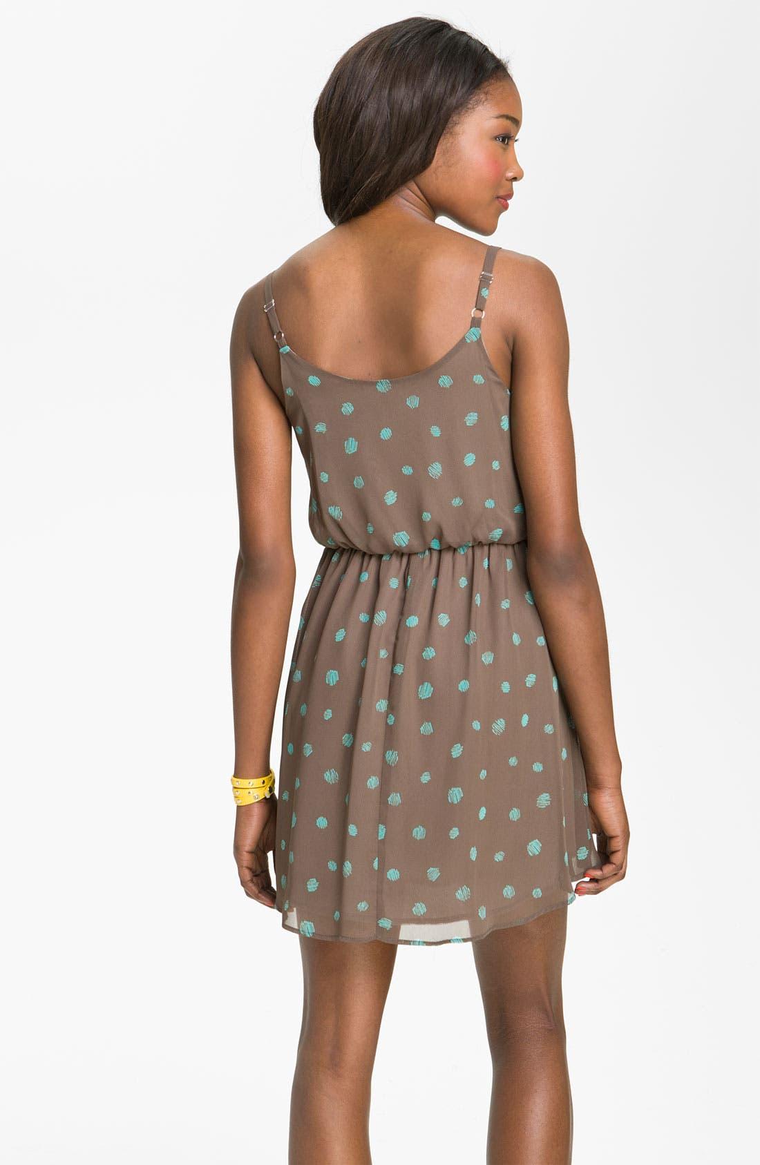 Alternate Image 2  - Lush Print Blouson Dress (Juniors)