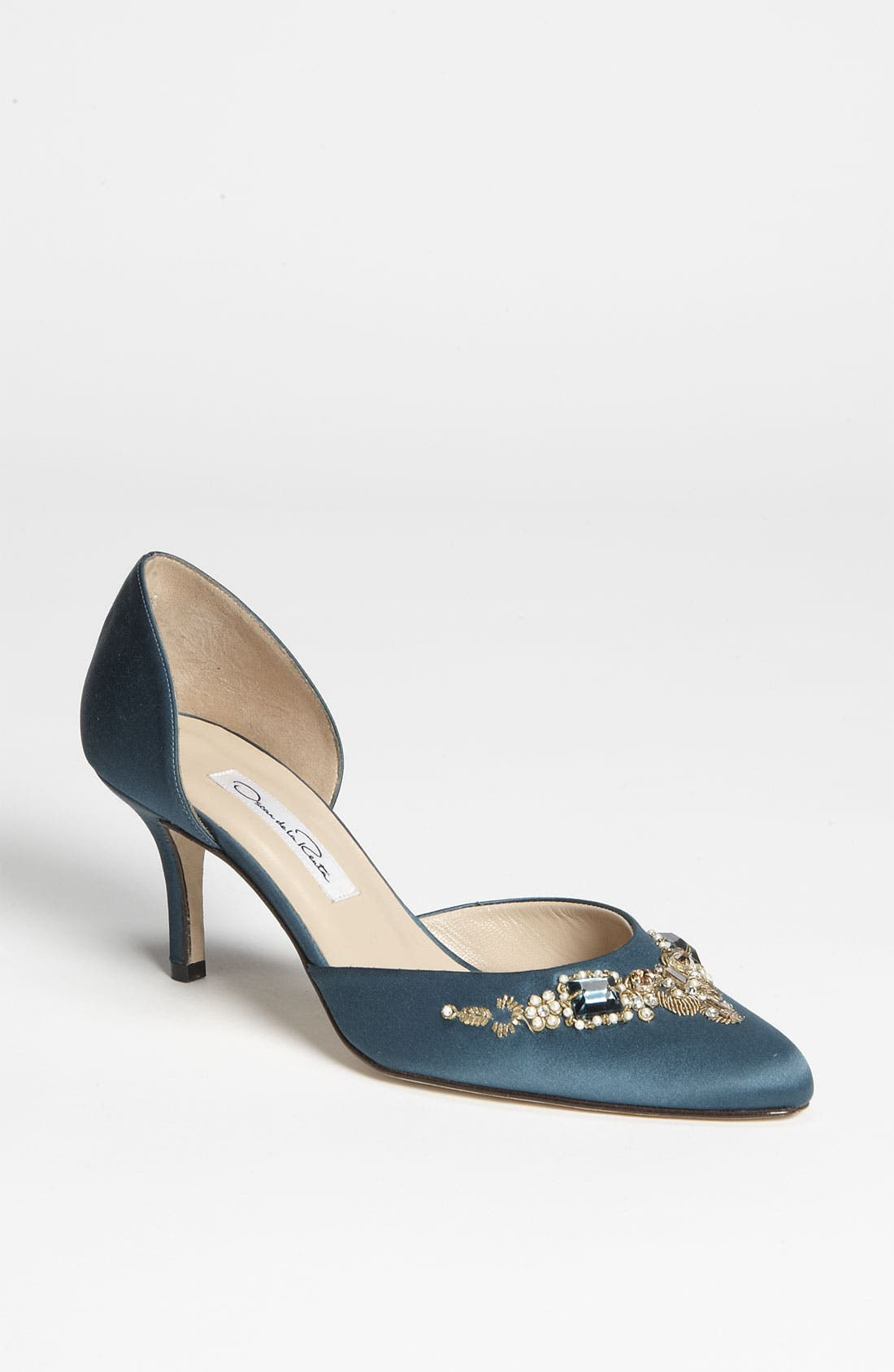 Main Image - Oscar de la Renta 'Binato' Beaded Satin d'Orsay Pump