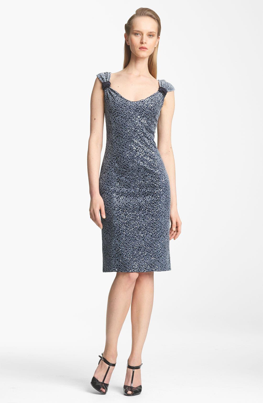 Main Image - Armani Collezioni Paillette Velvet & Jersey Dress