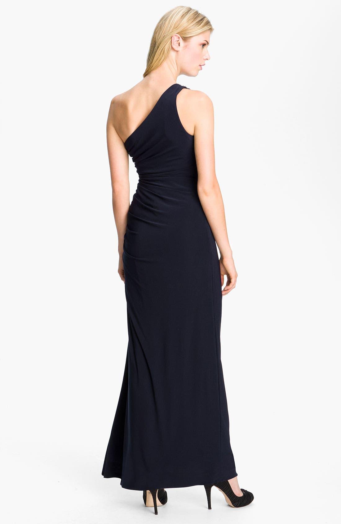 Alternate Image 2  - Betsy & Adam Embellished Trim One Shoulder Jersey Gown