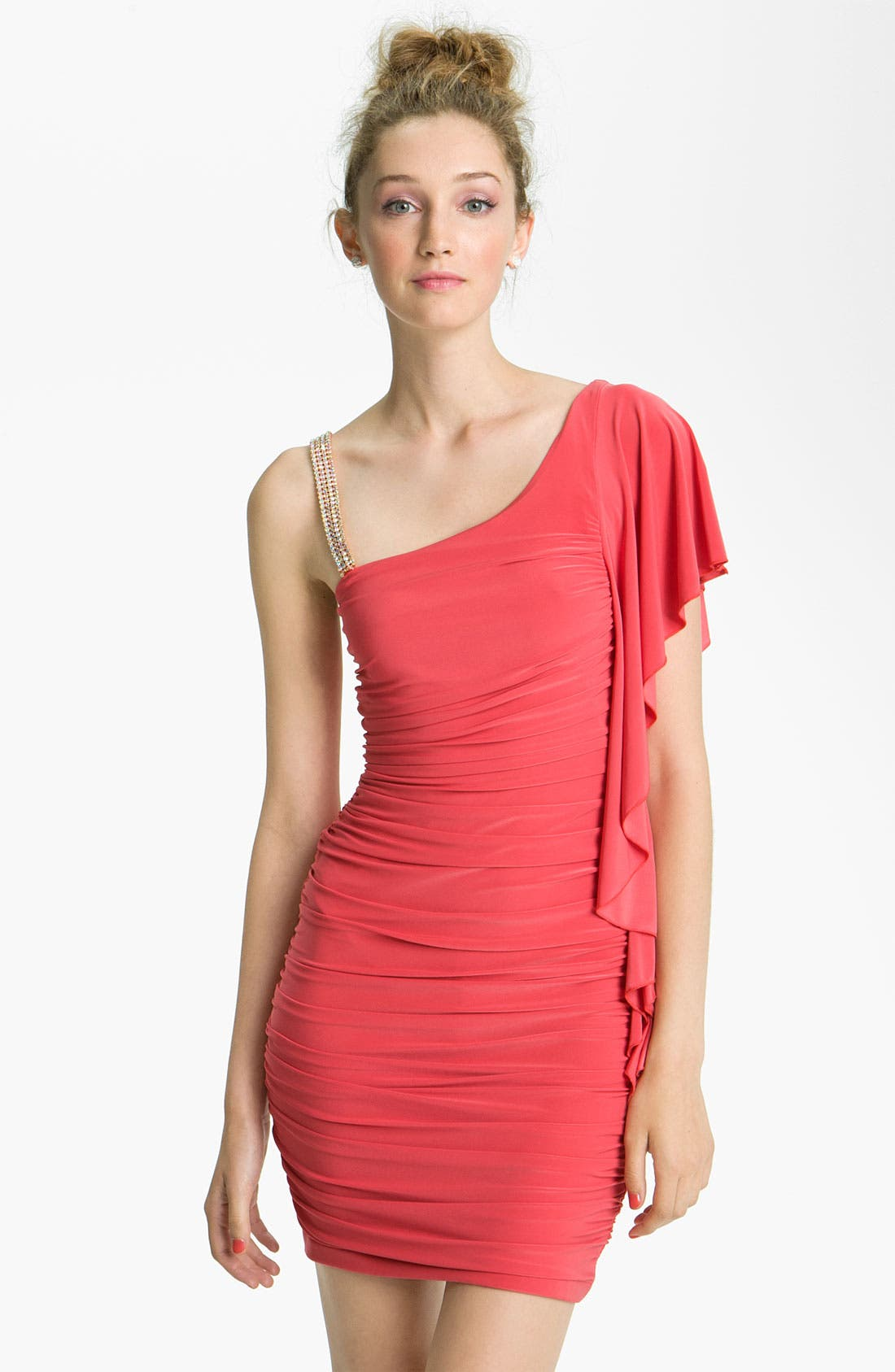 Alternate Image 1 Selected - Way-In One-Shoulder Flutter Dress (Juniors)