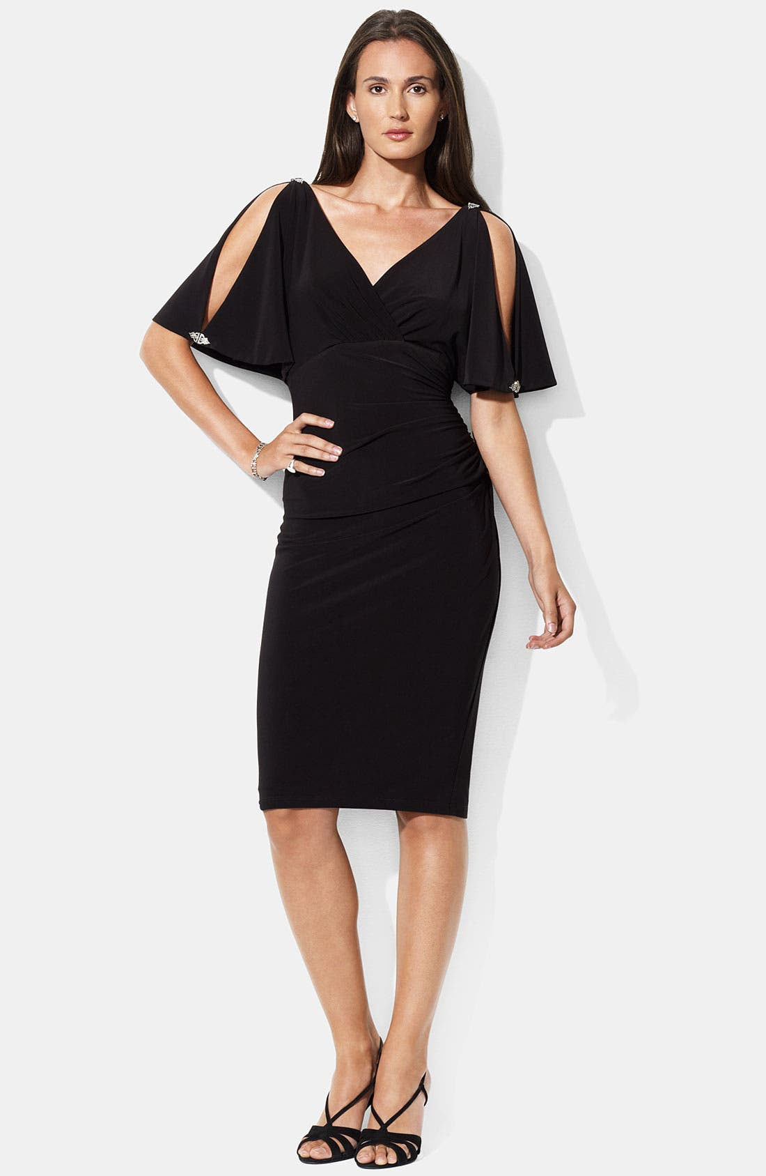 Main Image - Lauren Ralph Lauren Embellished Split Sleeve Jersey Dress