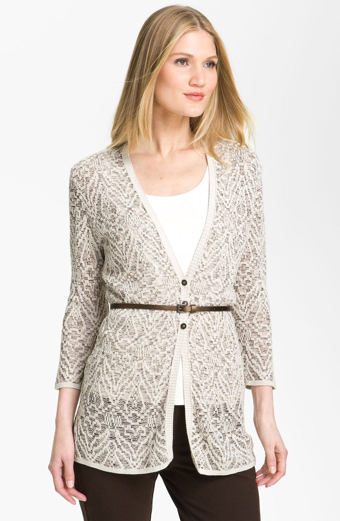 Alternate Image 1 Selected - Nic + Zoe 'Mixy' Belted V-Neck Cardigan