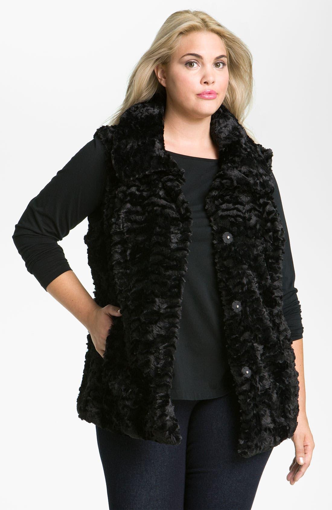 Alternate Image 2  - Gallery Crushed Faux Fur Vest (Plus)