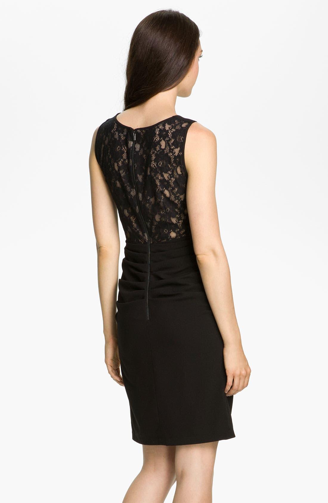 Alternate Image 2  - BCBGMAXAZRIA Lace Back Crepe Sheath Dress