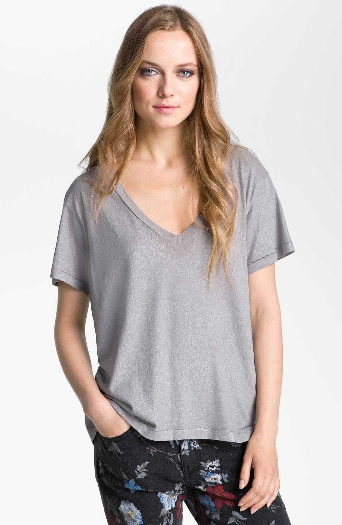 The V-Neck Tee,                             Main thumbnail 1, color,                             Silver