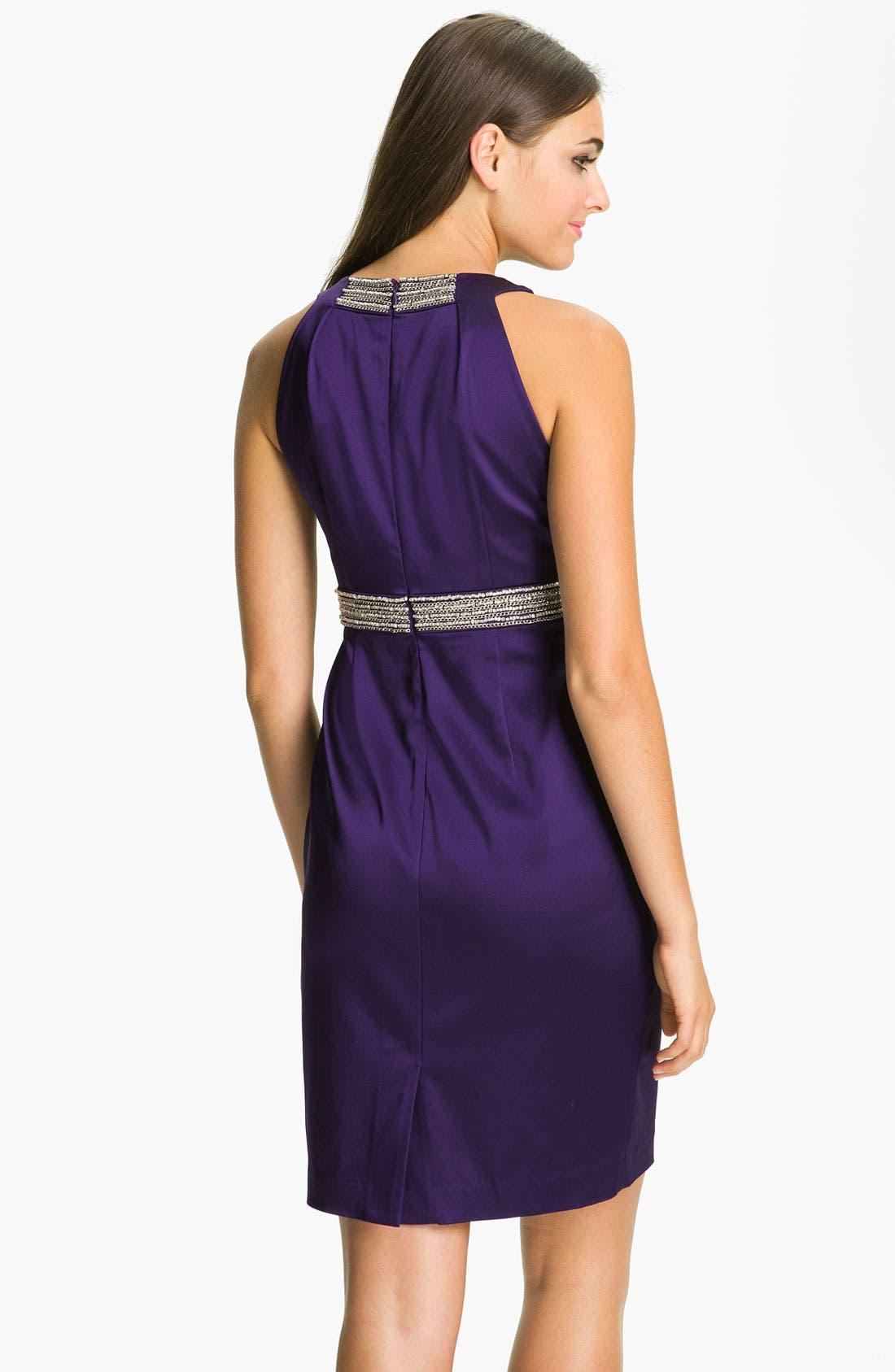 Alternate Image 2  - Calvin Klein Embellished Trim Satin Sheath Dress