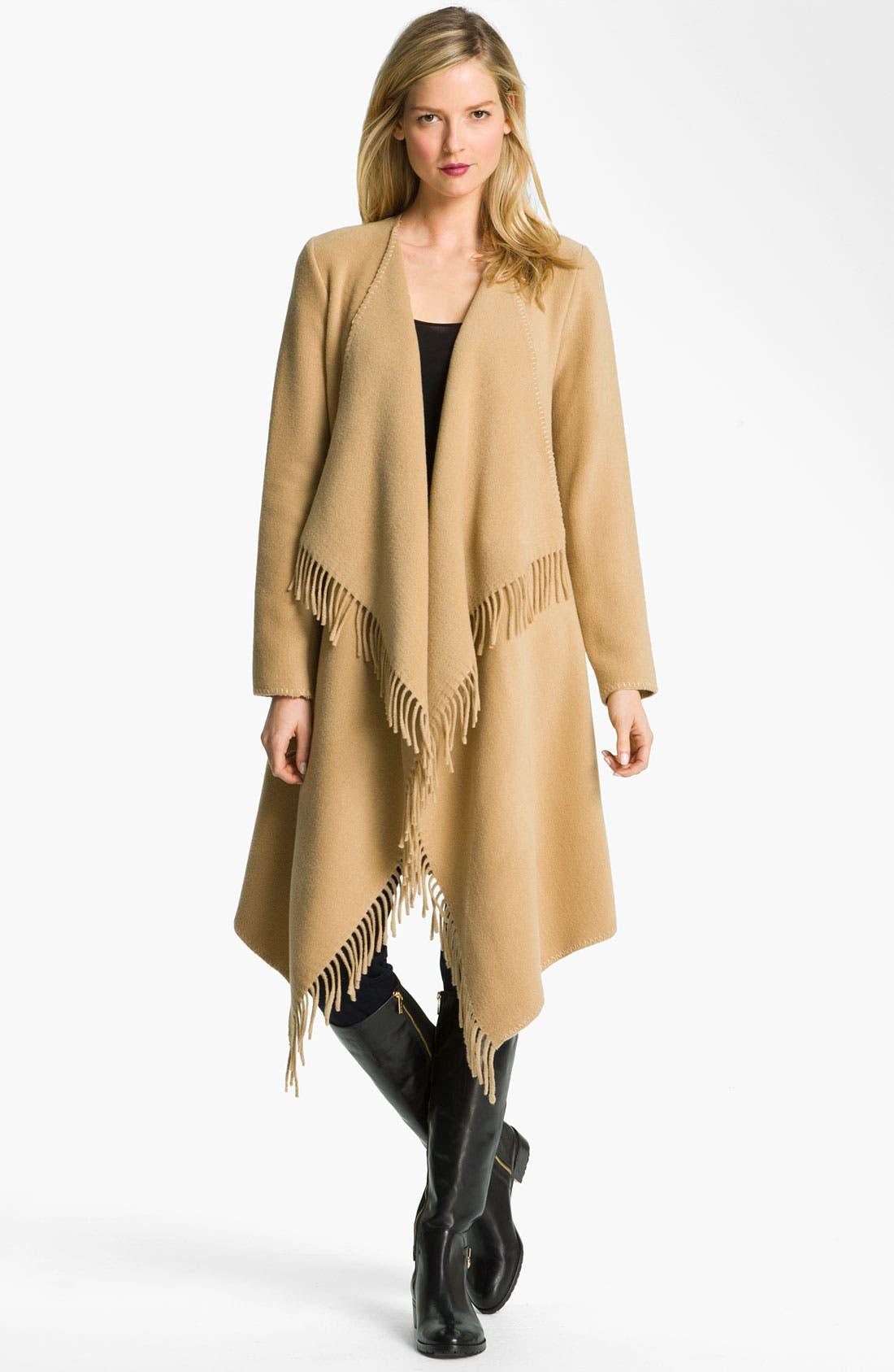 Main Image - MICHAEL Michael Kors Fringed Wool Blend Coat