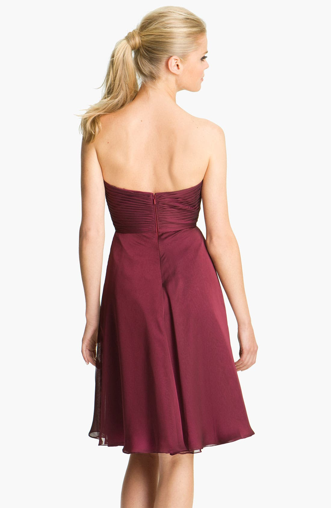 Alternate Image 2  - ML Monique Lhuillier Bridesmaids Pleated Chiffon Sweetheart Dress (Nordstrom Exclusive)