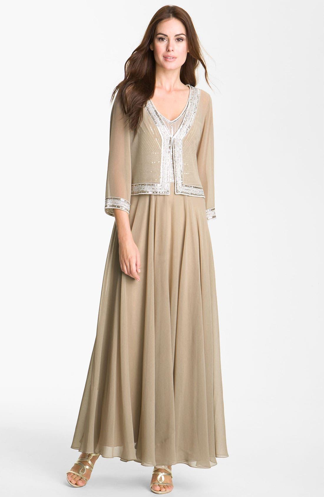 Alternate Image 1 Selected - J Kara Embellished Chiffon Gown & Jacket