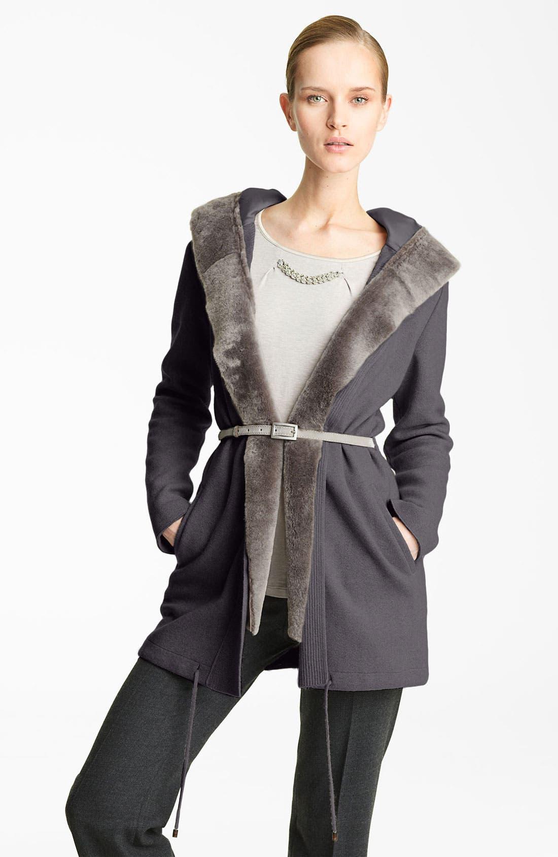 Alternate Image 1 Selected - Fabiana Filippi Shearling Trim Coat