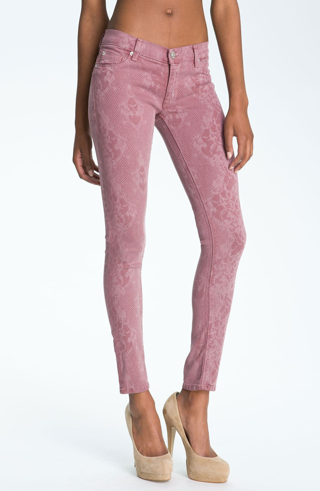 Alternate Image 1 Selected - Hudson Jeans 'Nico' Mid Rise Skinny Stretch Jeans (Blush Lace)