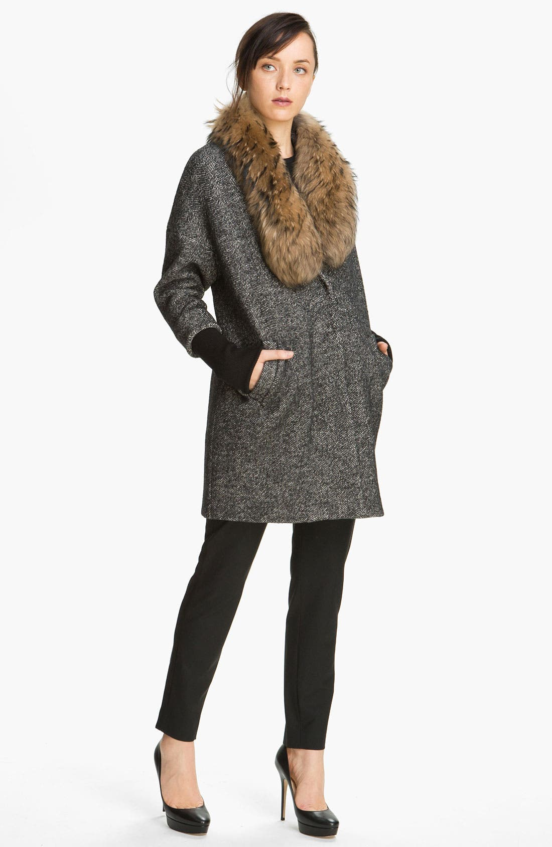 Main Image - Elizabeth and James 'Valentia' Herringbone Coat with Removable Fur Collar