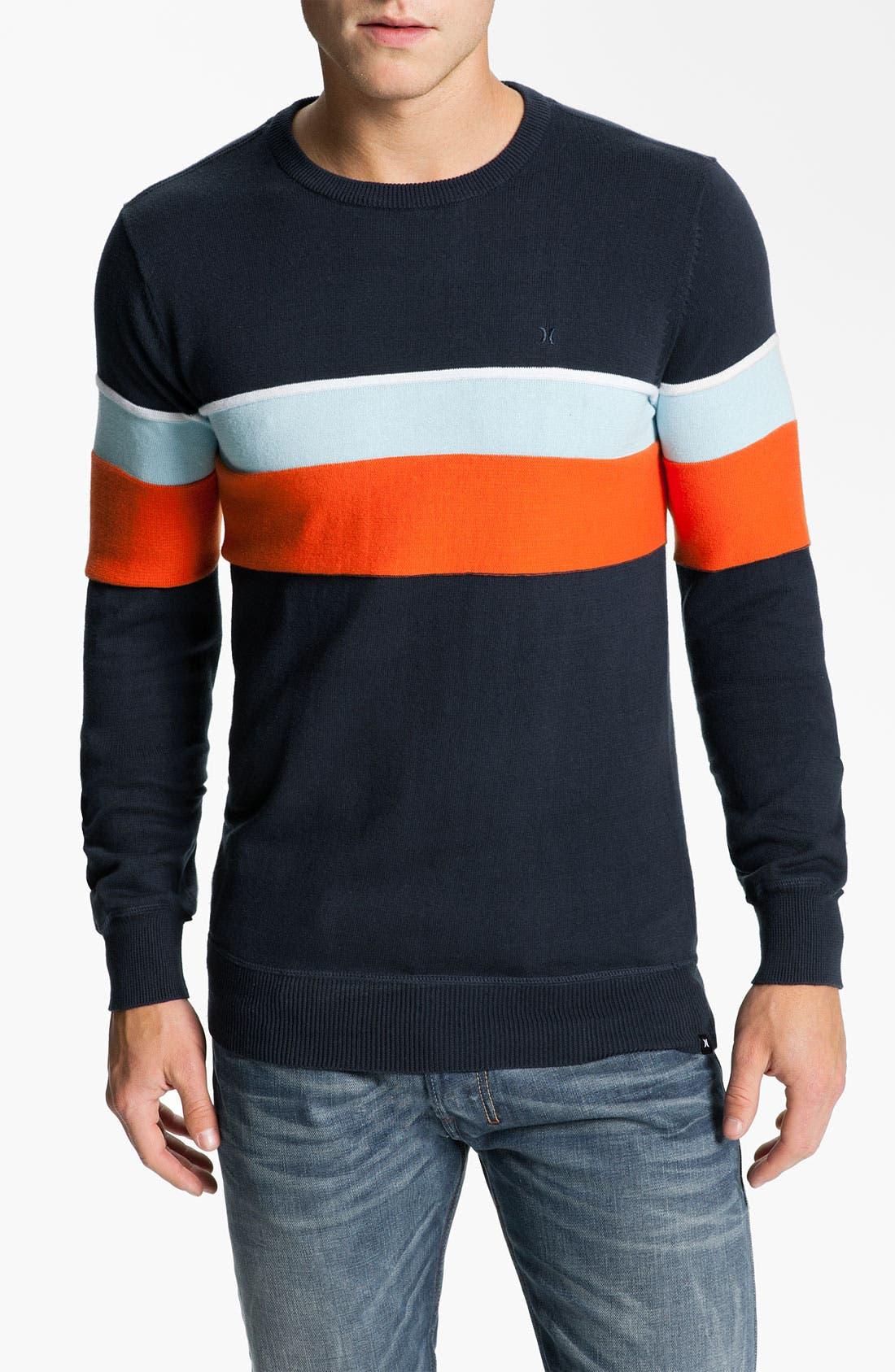 Main Image - Hurley 'Hanger' Stripe Crewneck Sweater