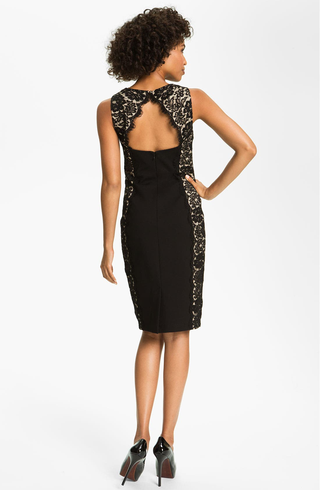 Alternate Image 2  - Aidan Mattox Lace Panel Woven Sheath Dress