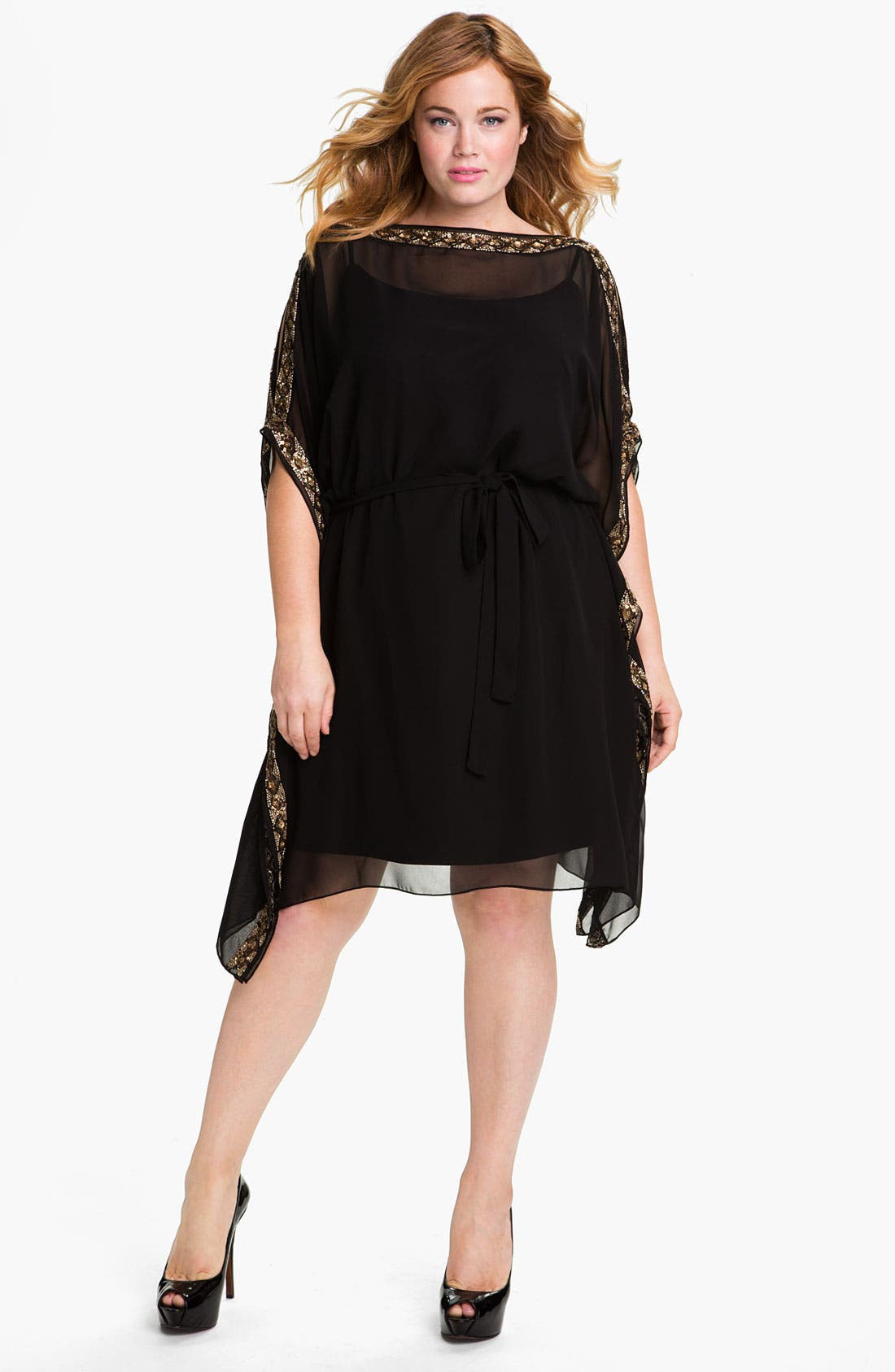 Alternate Image 1 Selected - Aidan Mattox Beaded Kimono Sleeve Chiffon Dress (Plus)