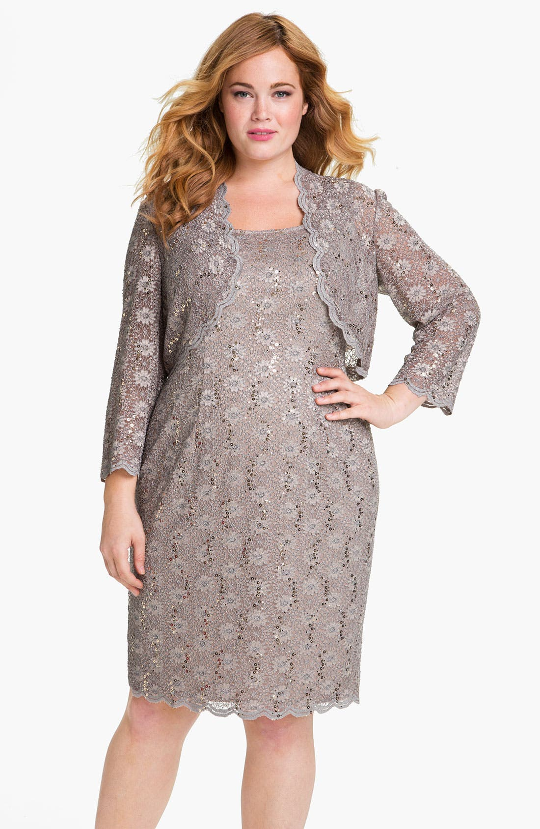 Main Image - Alex Evenings Sequined Lace Sleeveless Dress & Bolero (Plus Size)