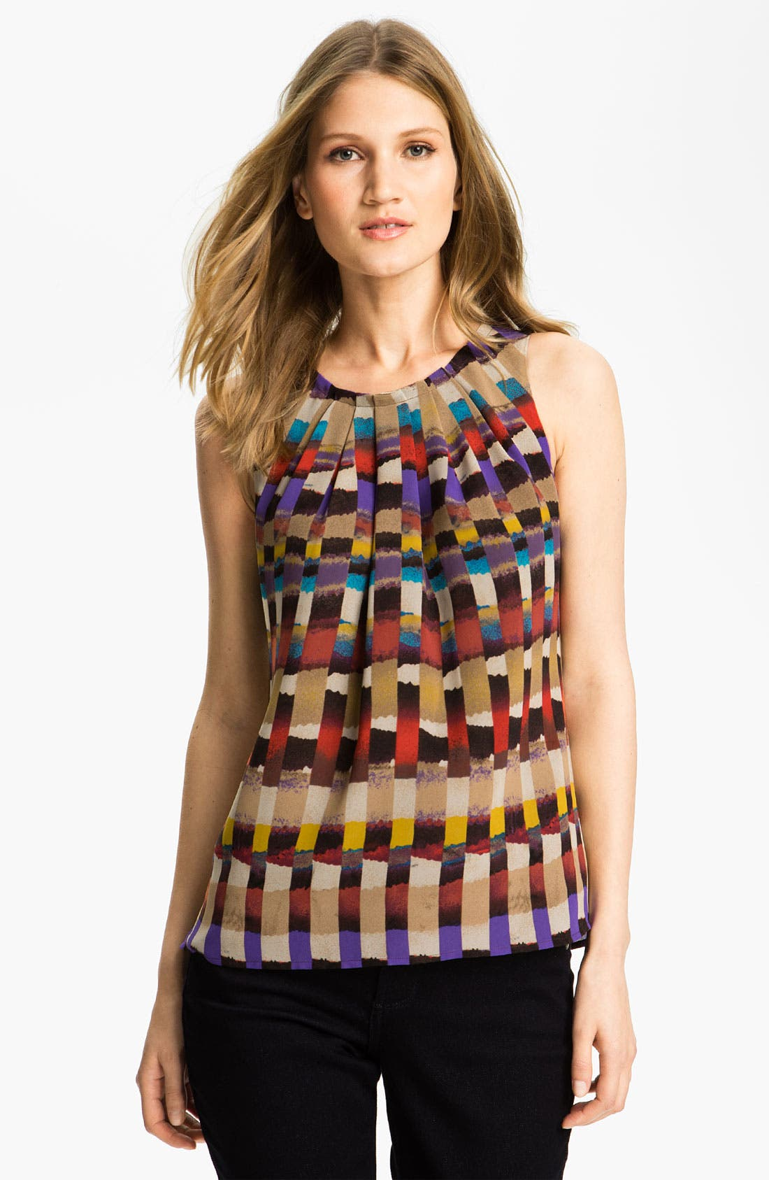 Alternate Image 1 Selected - Chaus Print Pleat Neck Blouse