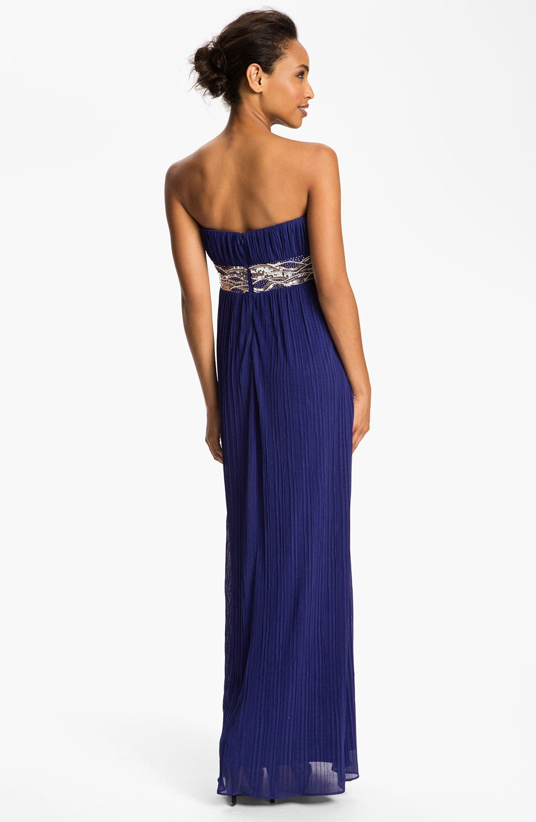 Alternate Image 2  - JS Boutique Embellished Waist Plissé Gown