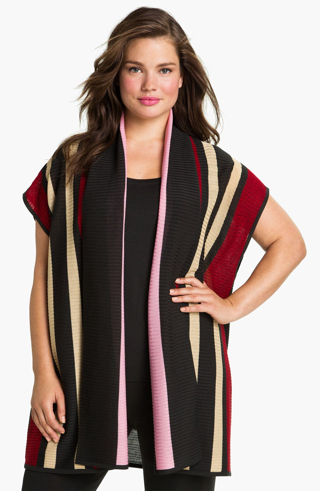 Main Image - Exclusively Misook Stripe Ribbed Sweater Vest (Plus)