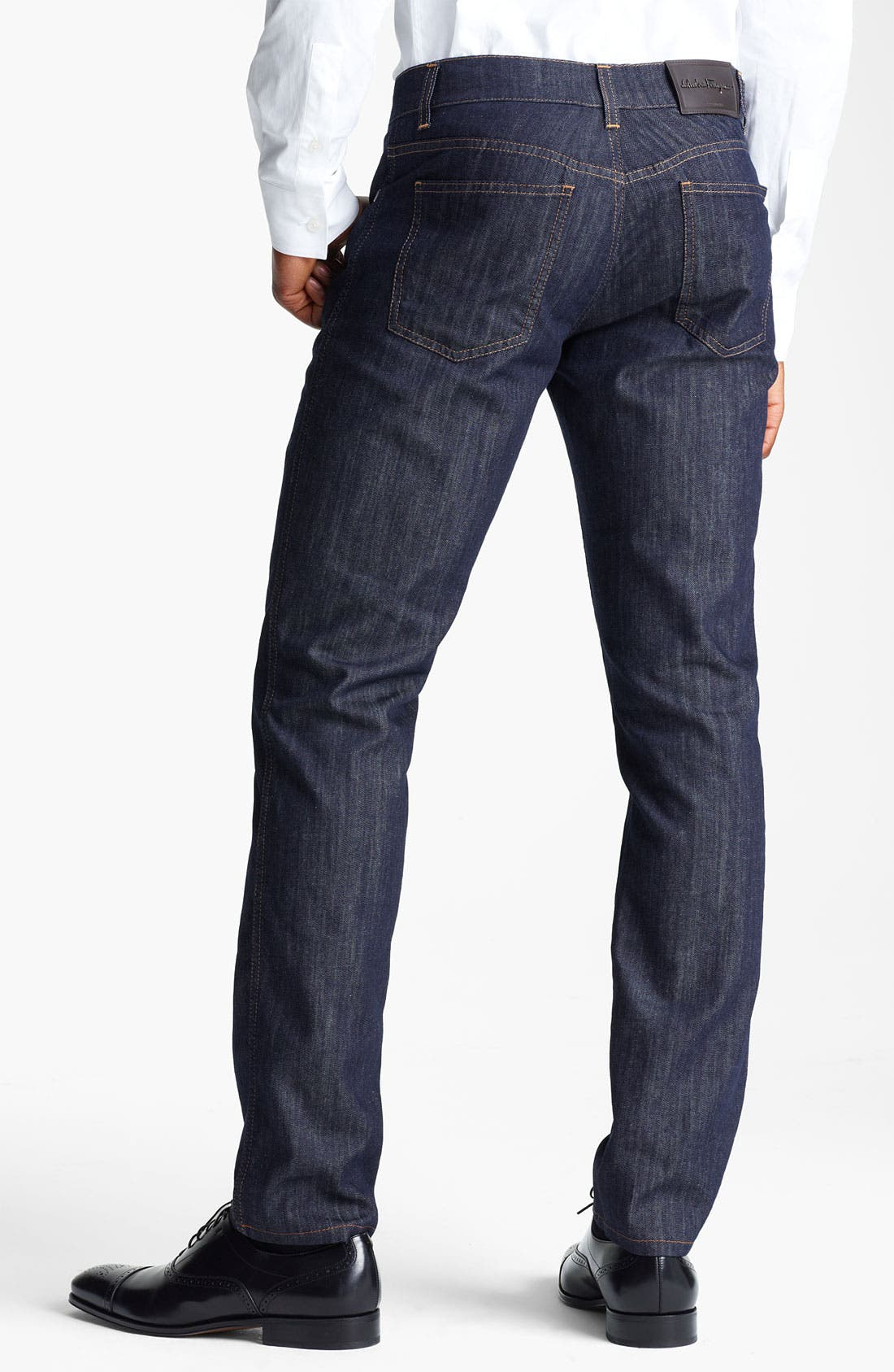 Alternate Image 2  - Salvatore Ferragamo 'Typology' Straight Leg Jeans (Navy)