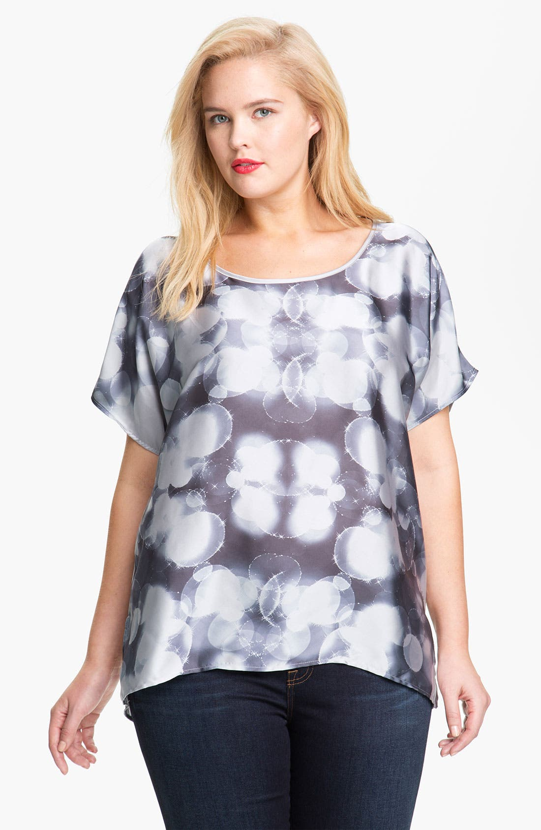 Alternate Image 1 Selected - Pleione Graphic Print Asymmetrical Top (Plus Size)
