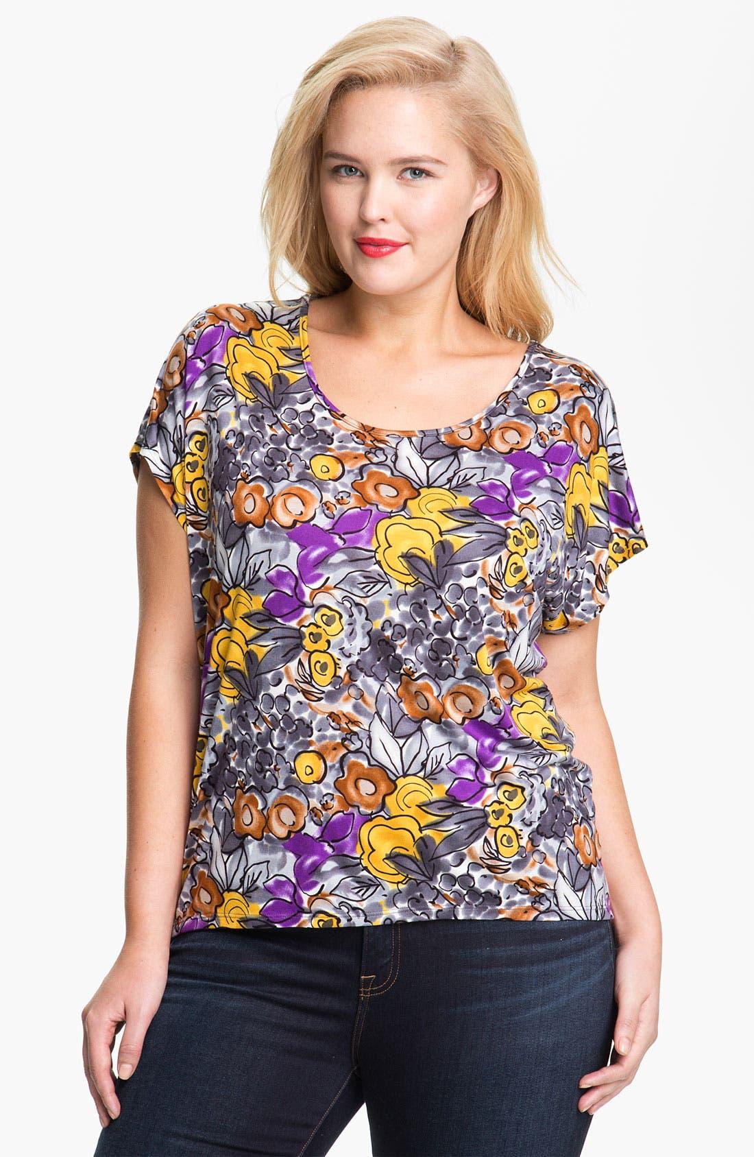 Alternate Image 1 Selected - Olivia Moon Floral Print Tee (Plus)
