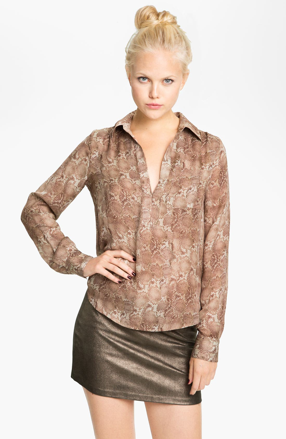Alternate Image 1 Selected - Haute Hippie Print Silk Shirt