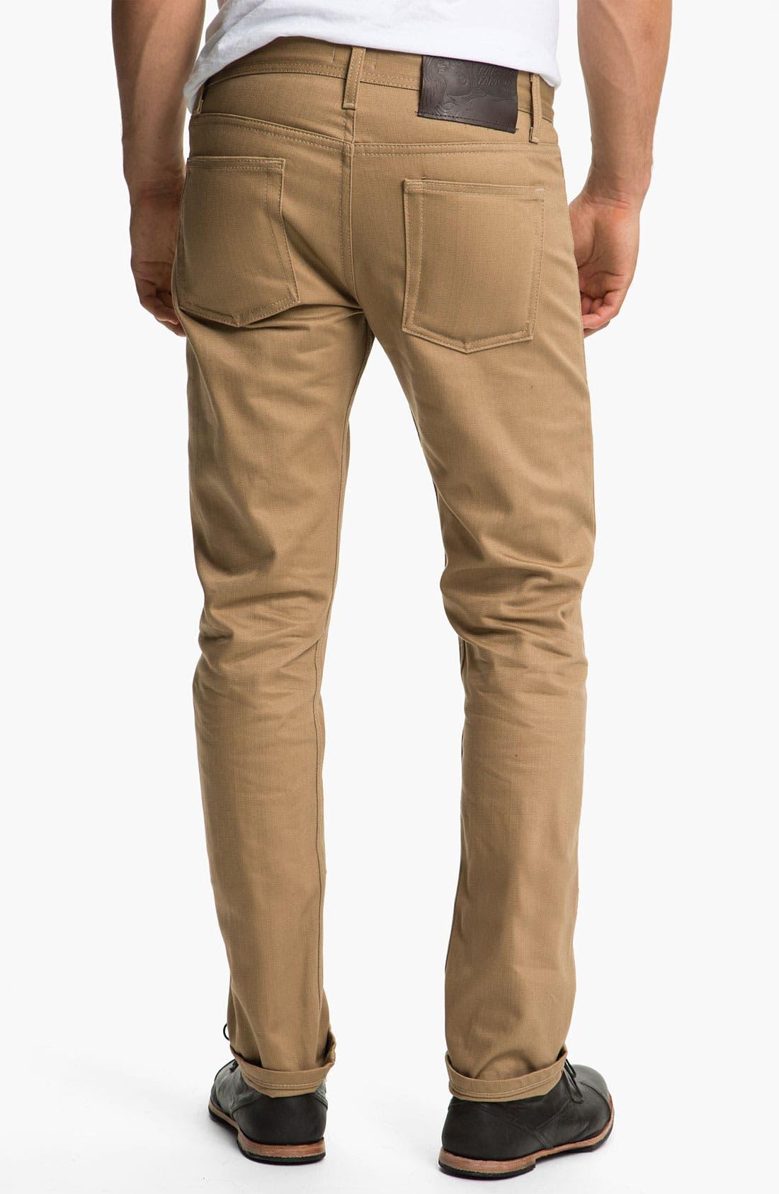 Alternate Image 2  - Naked & Famous Denim 'Weird Guy' Slim Straight Leg Selvedge Jeans (Beige)