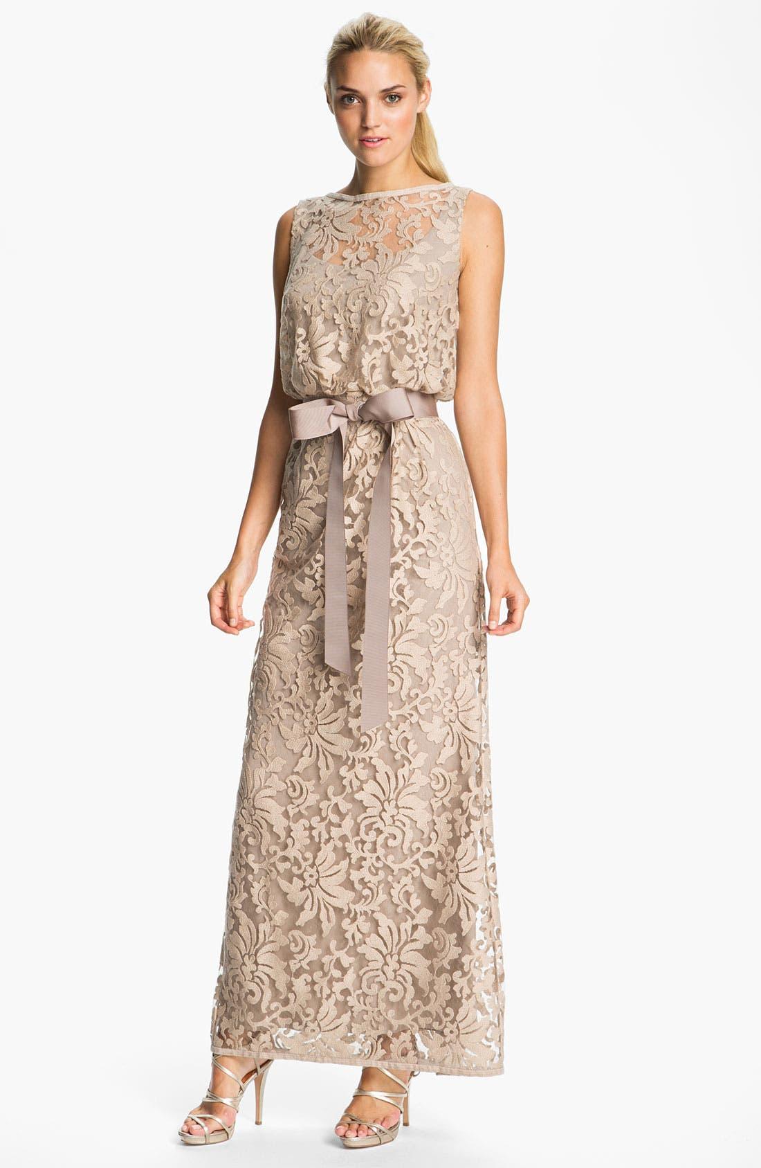 Main Image - Tadashi Shoji Lace Overlay Blouson Gown
