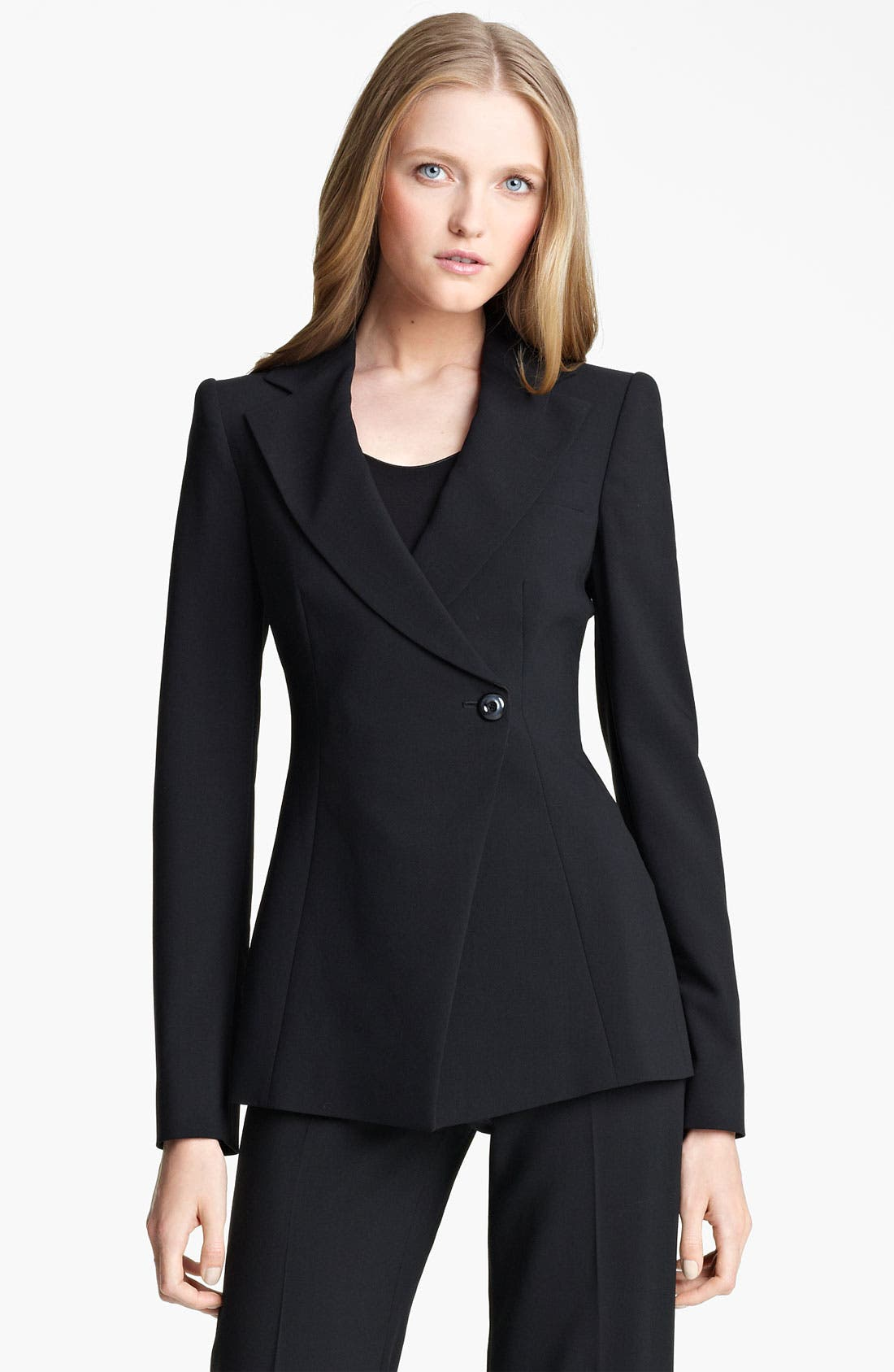 Main Image - Armani Collezioni Asymmetrical Featherweight Wool Jacket